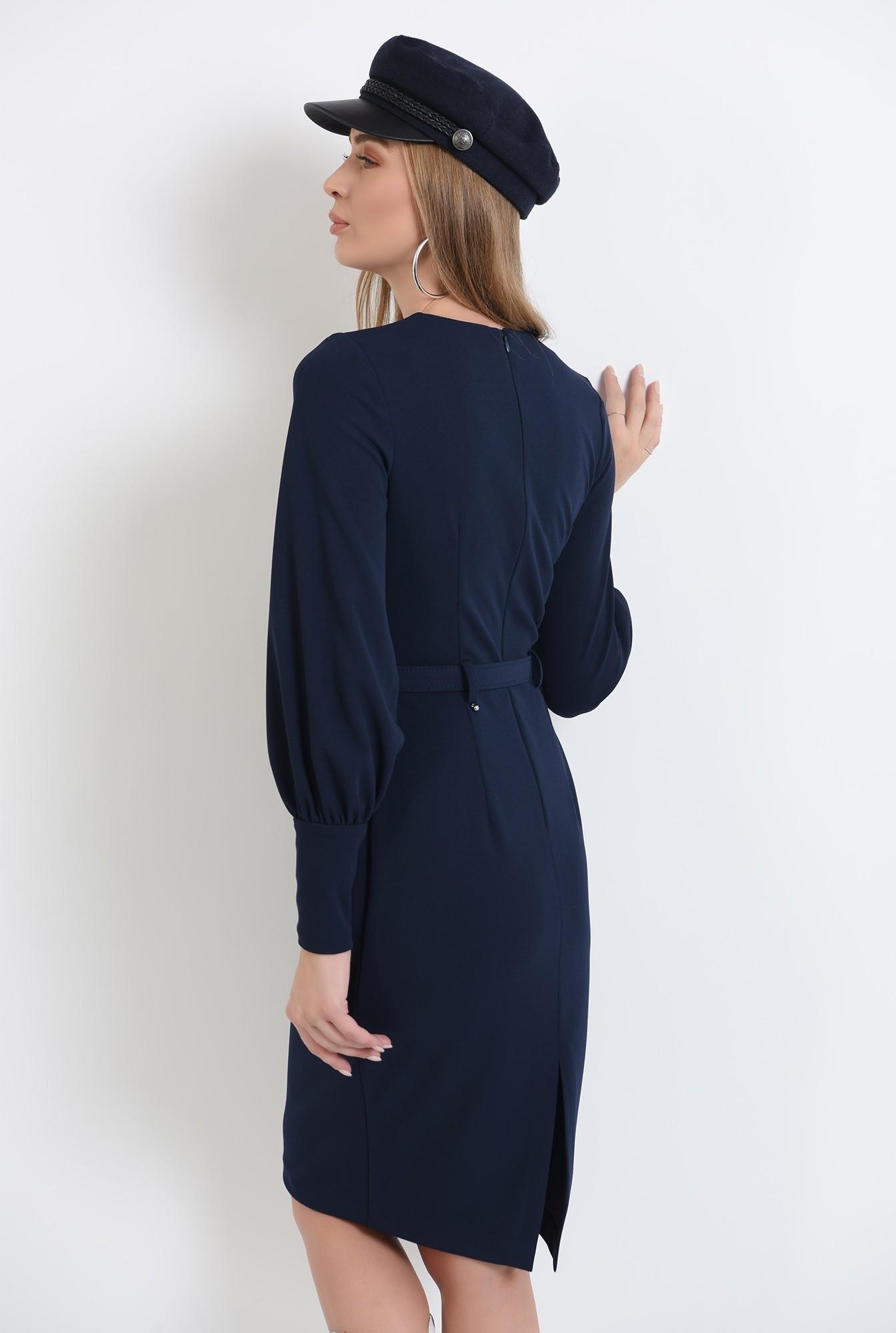 0 - 360 - rochie bleumarin, midi, cu slit la spate, cu centura