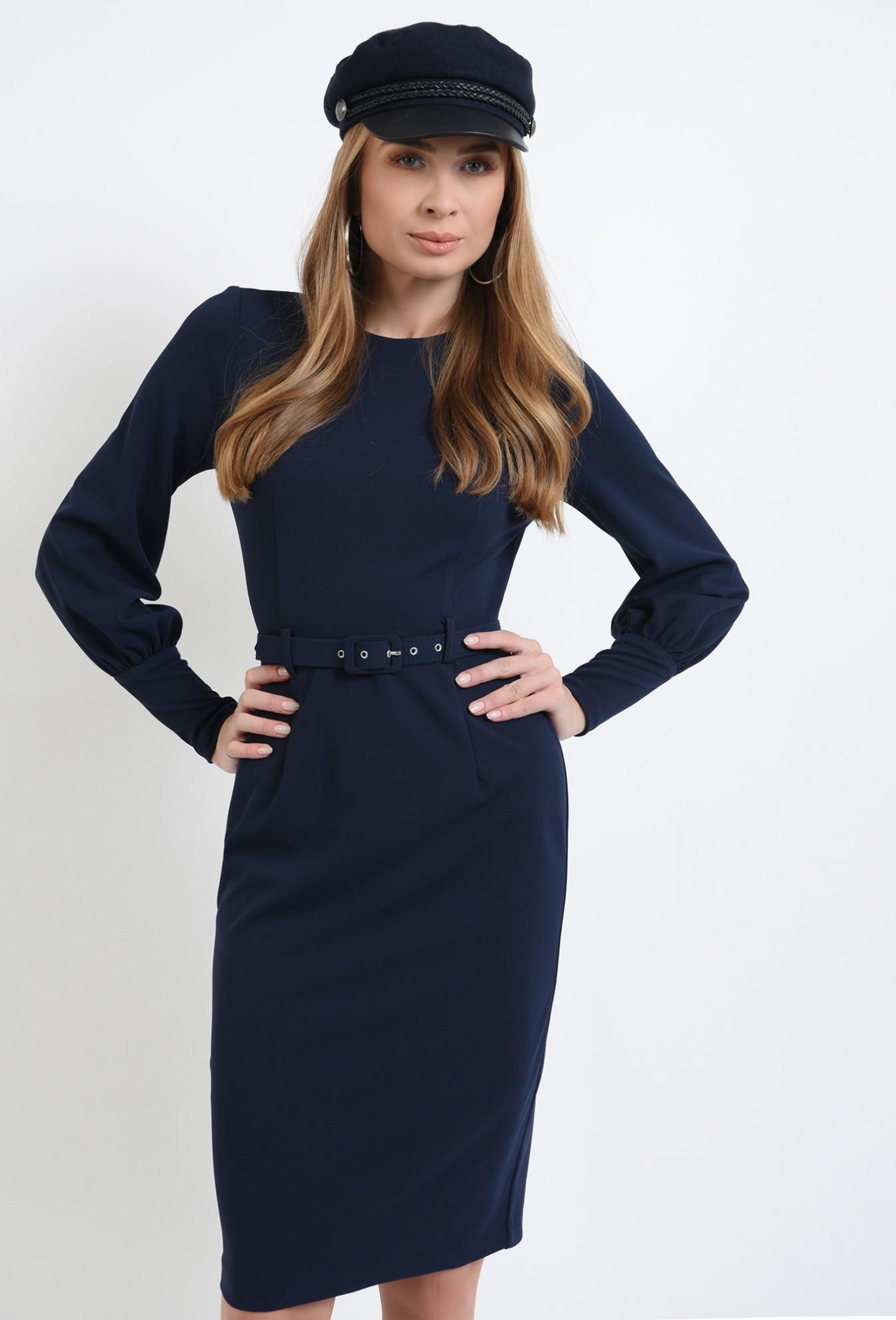 1 - 360 - rochie bleumarin, midi, cu slit la spate, cu centura