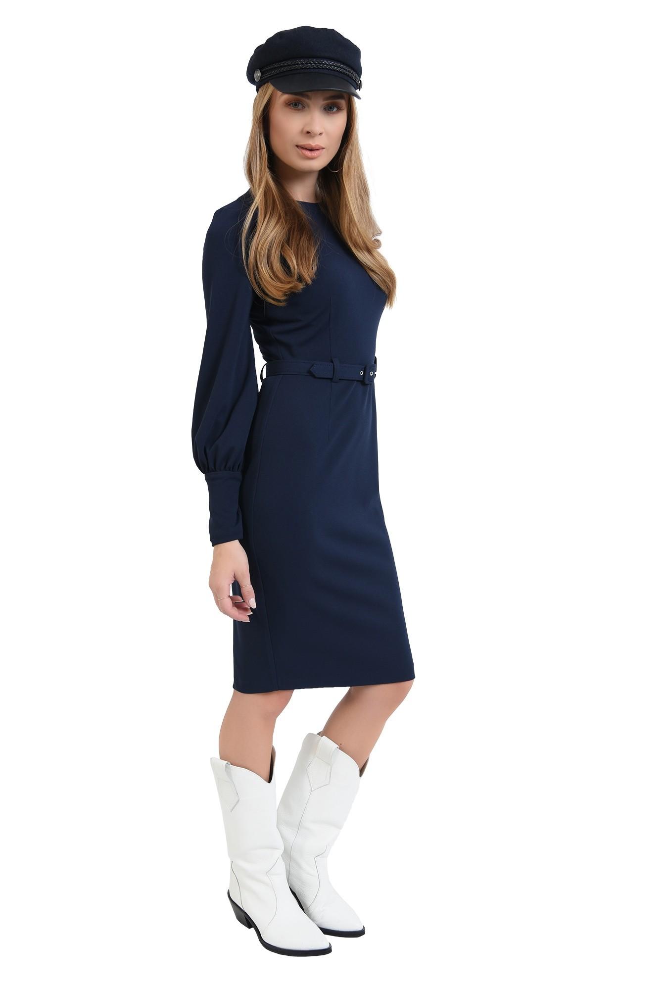 3 - 360 - rochie bleumarin, midi, cu slit la spate, cu centura