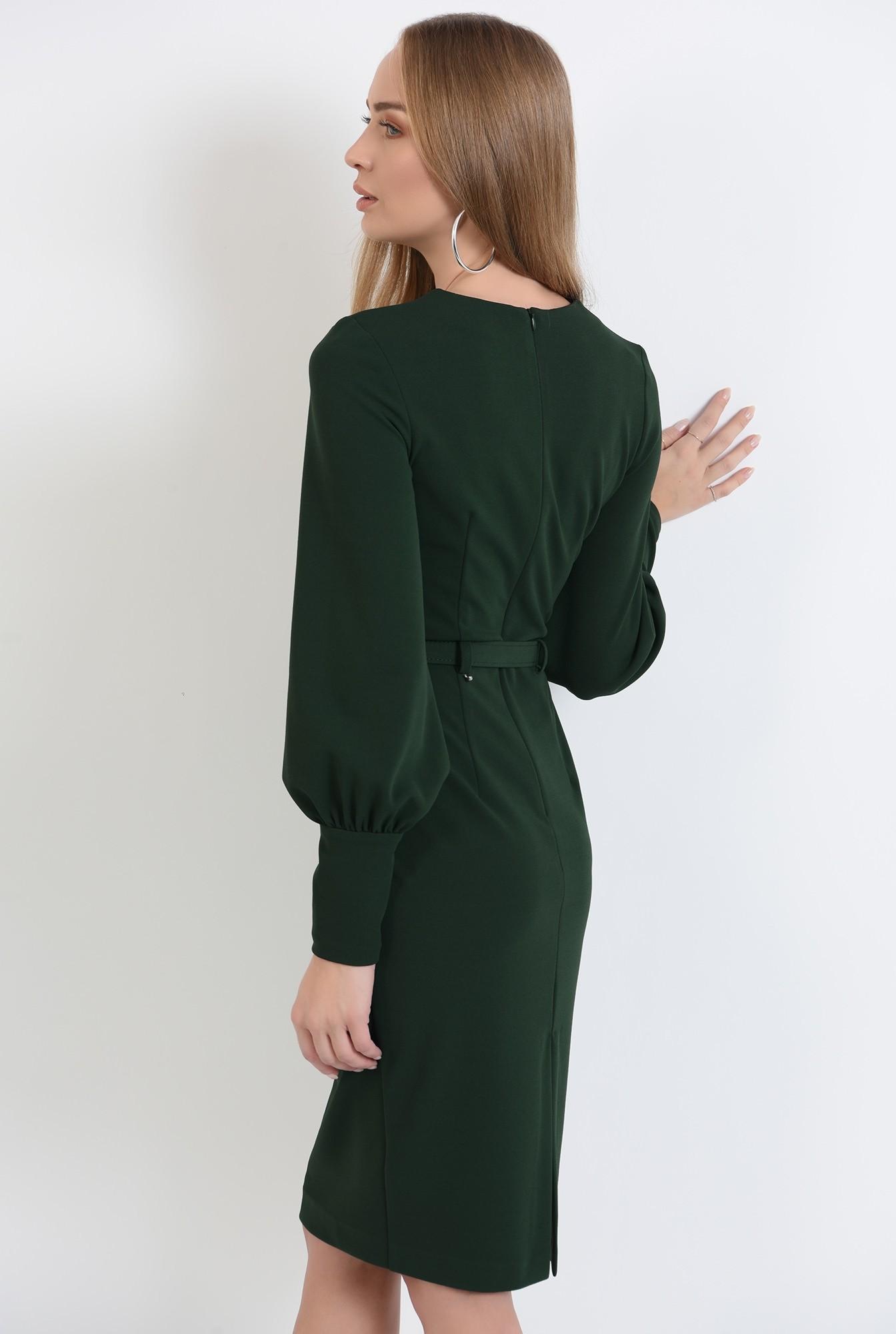 1 - rochie cu centura, cu decolteu rotund, cu slit la spate