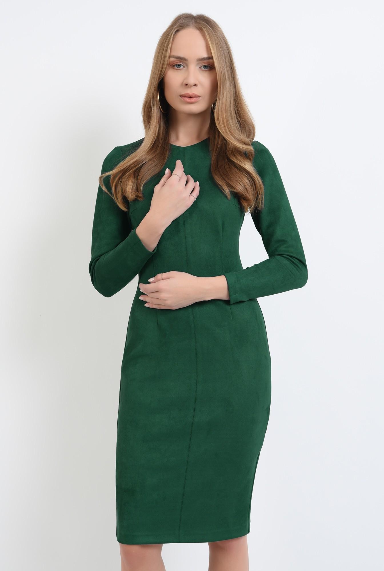 0 - rochie conica, verde, midi, Poema