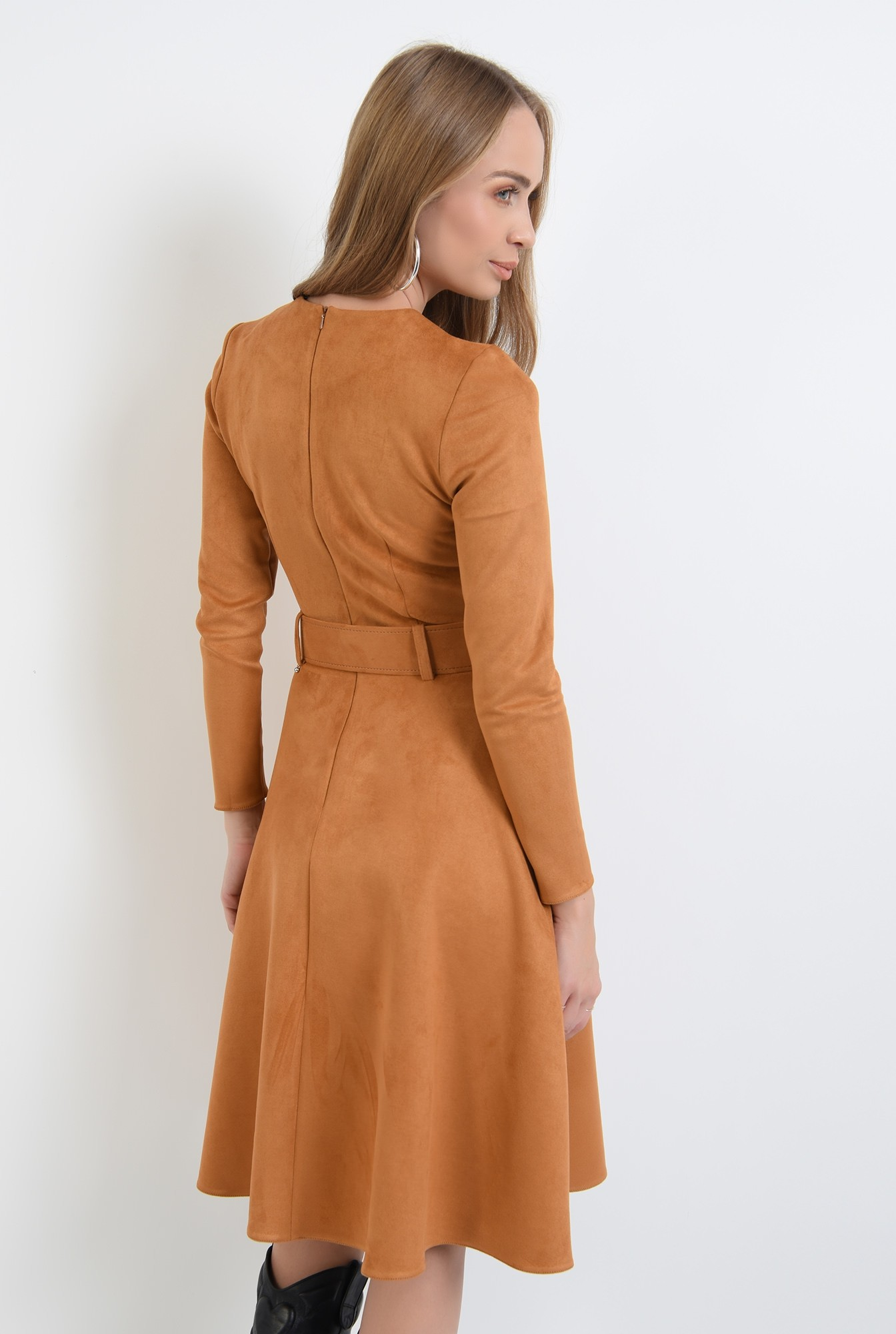 1 - 360 - rochie evazata, maro, cu centura