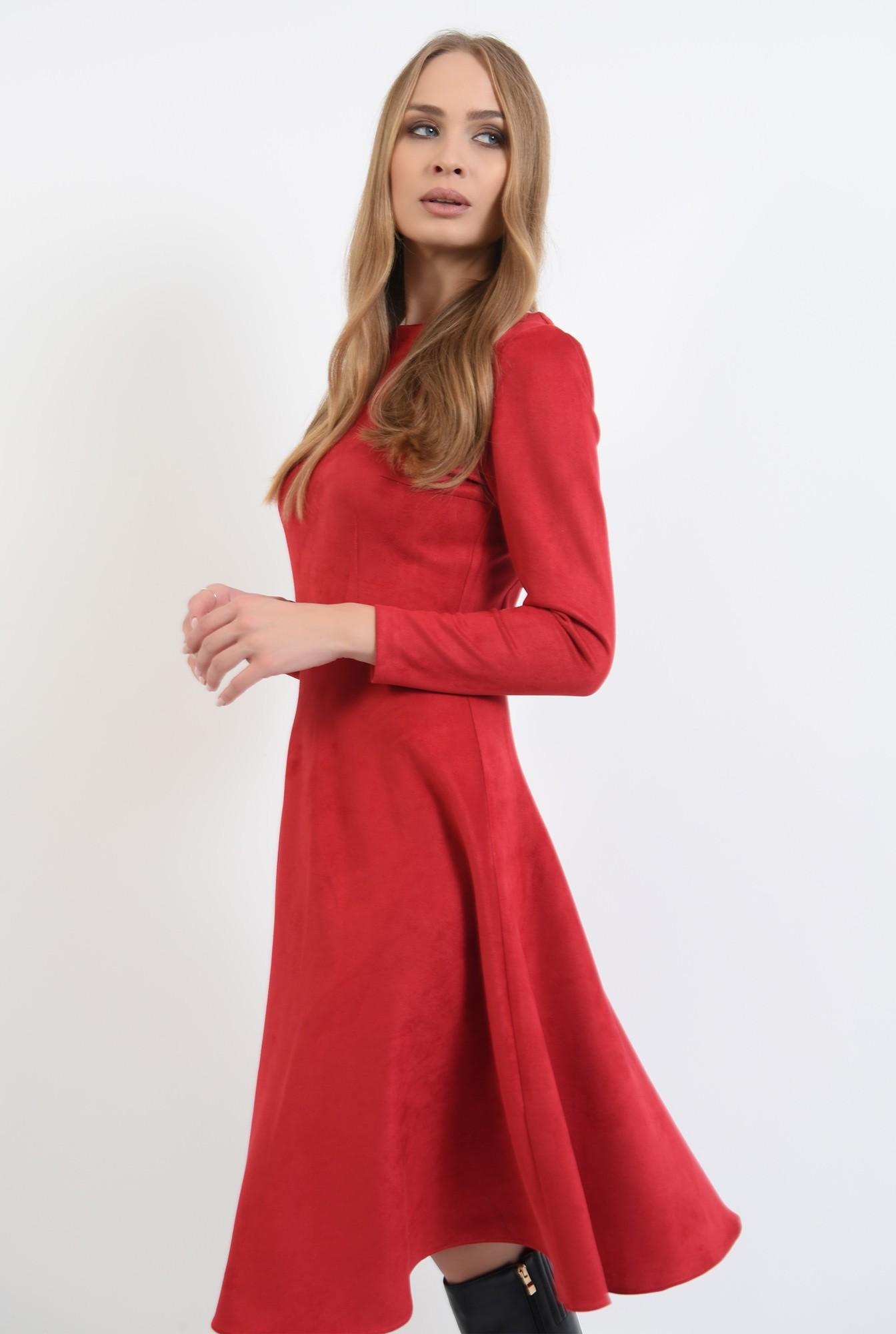 0 - rochie rosie, cu nasturi metalici la spate, evazata
