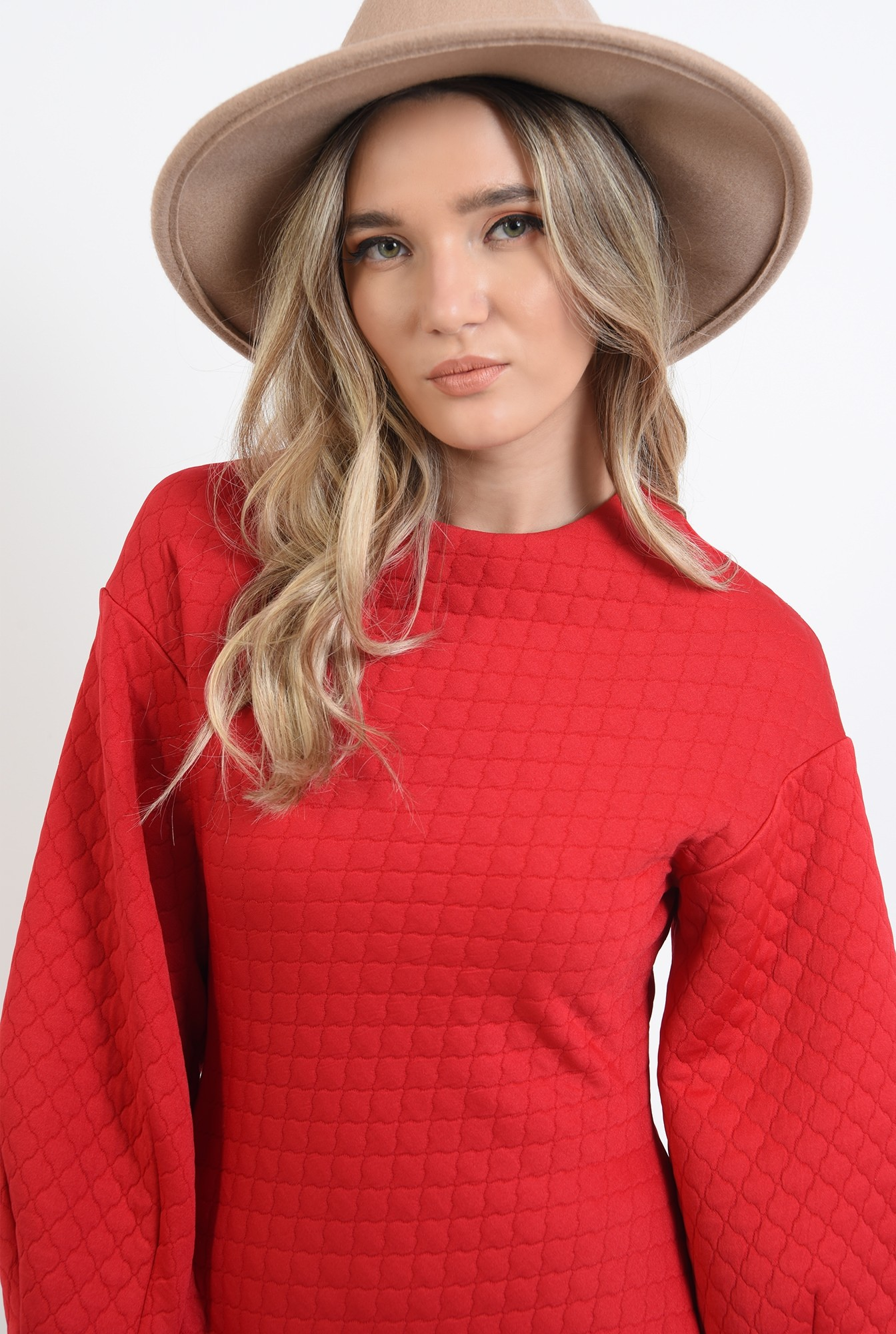 2 - 360 - rochie cu maneci largi, rosie, mini