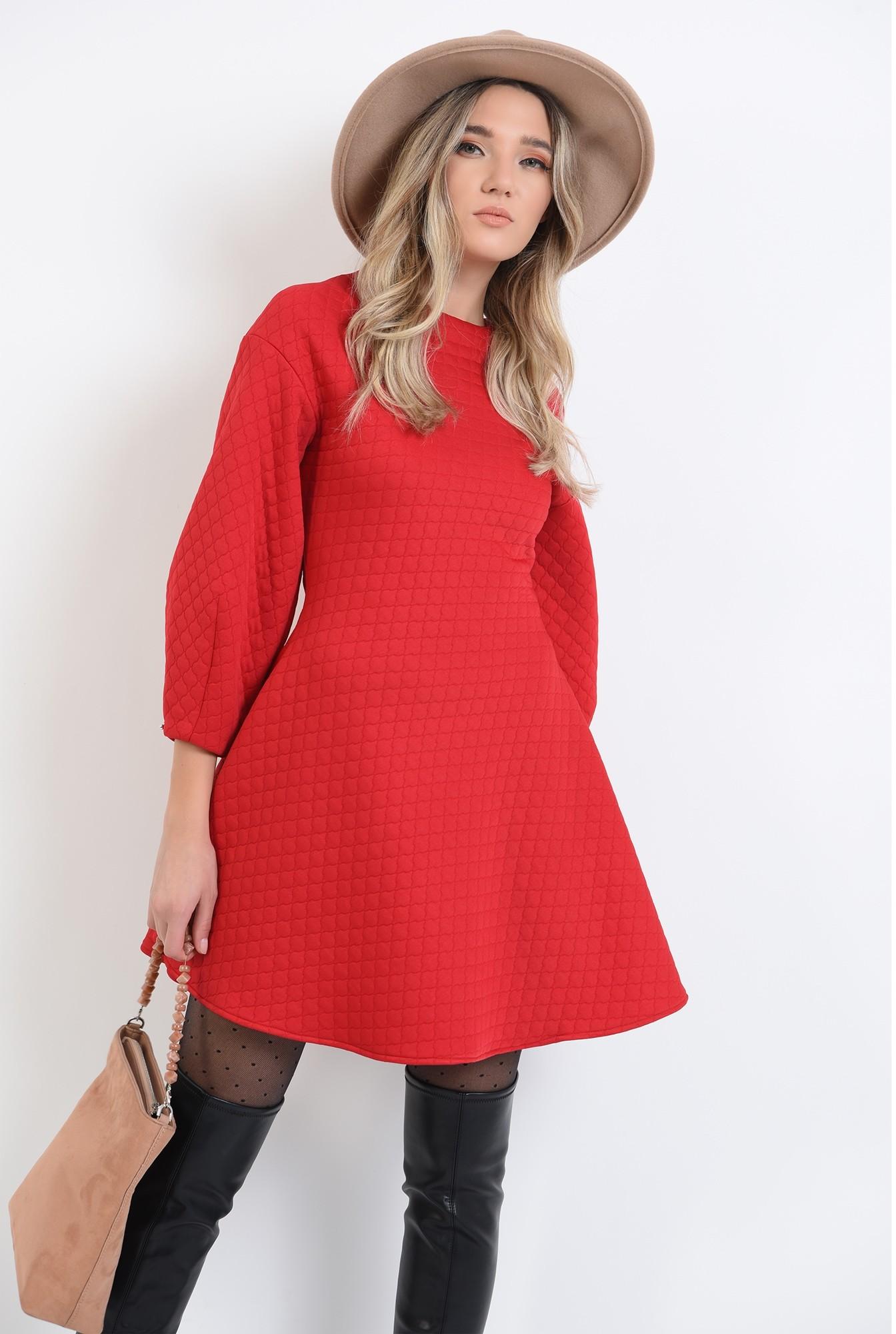 1 - 360 - rochie cu maneci largi, rosie, mini