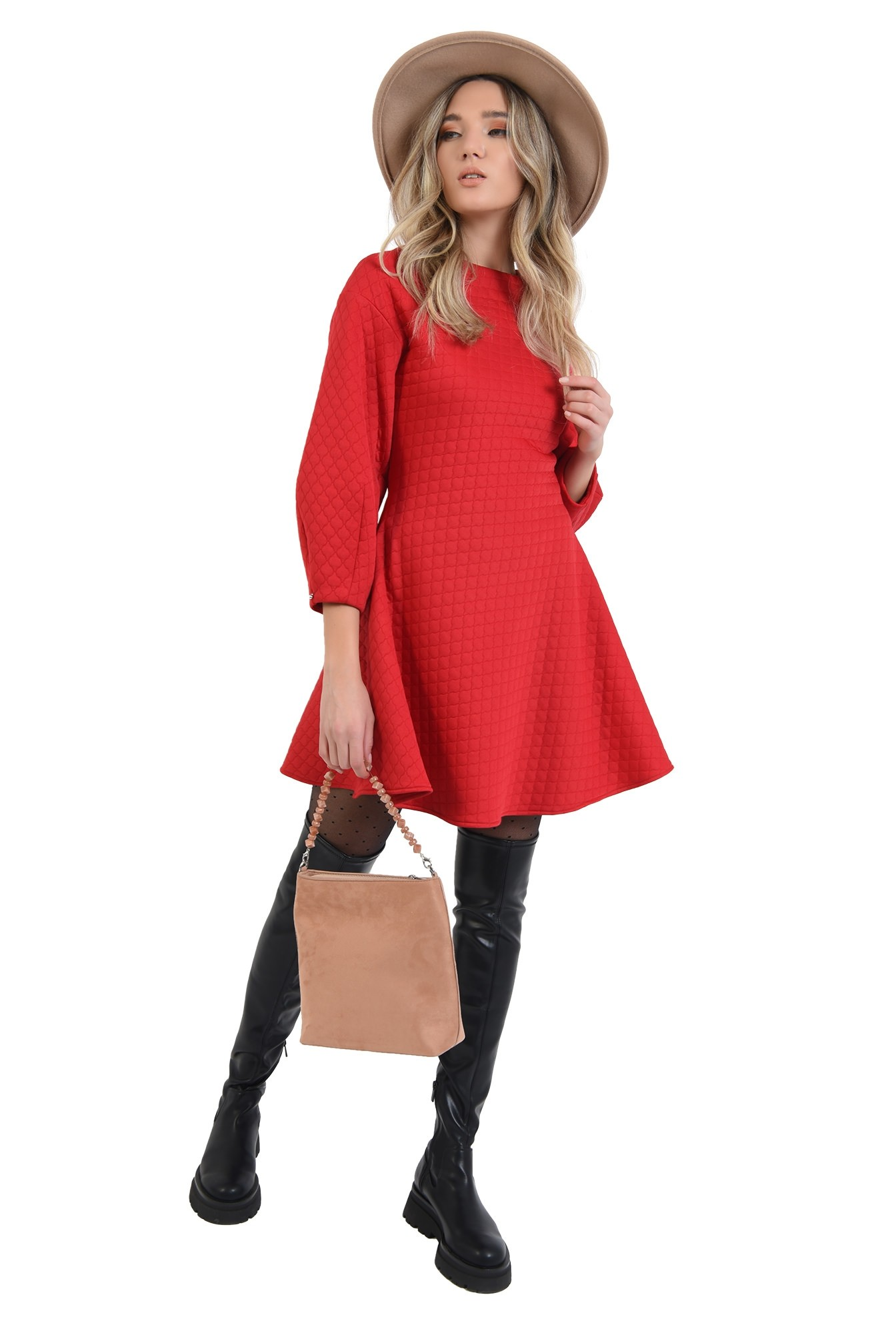 3 - 360 - rochie cu maneci largi, rosie, mini