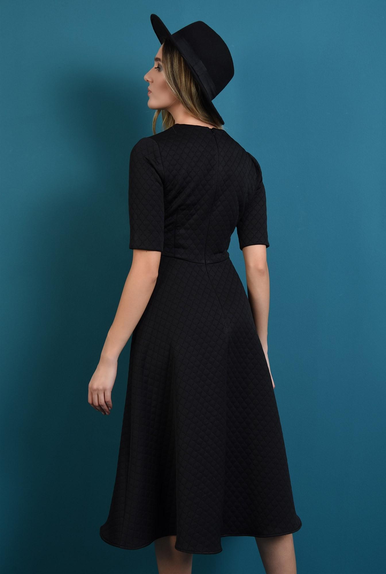 1 - rochie midi, neagra, cu maneca scurta, Poema