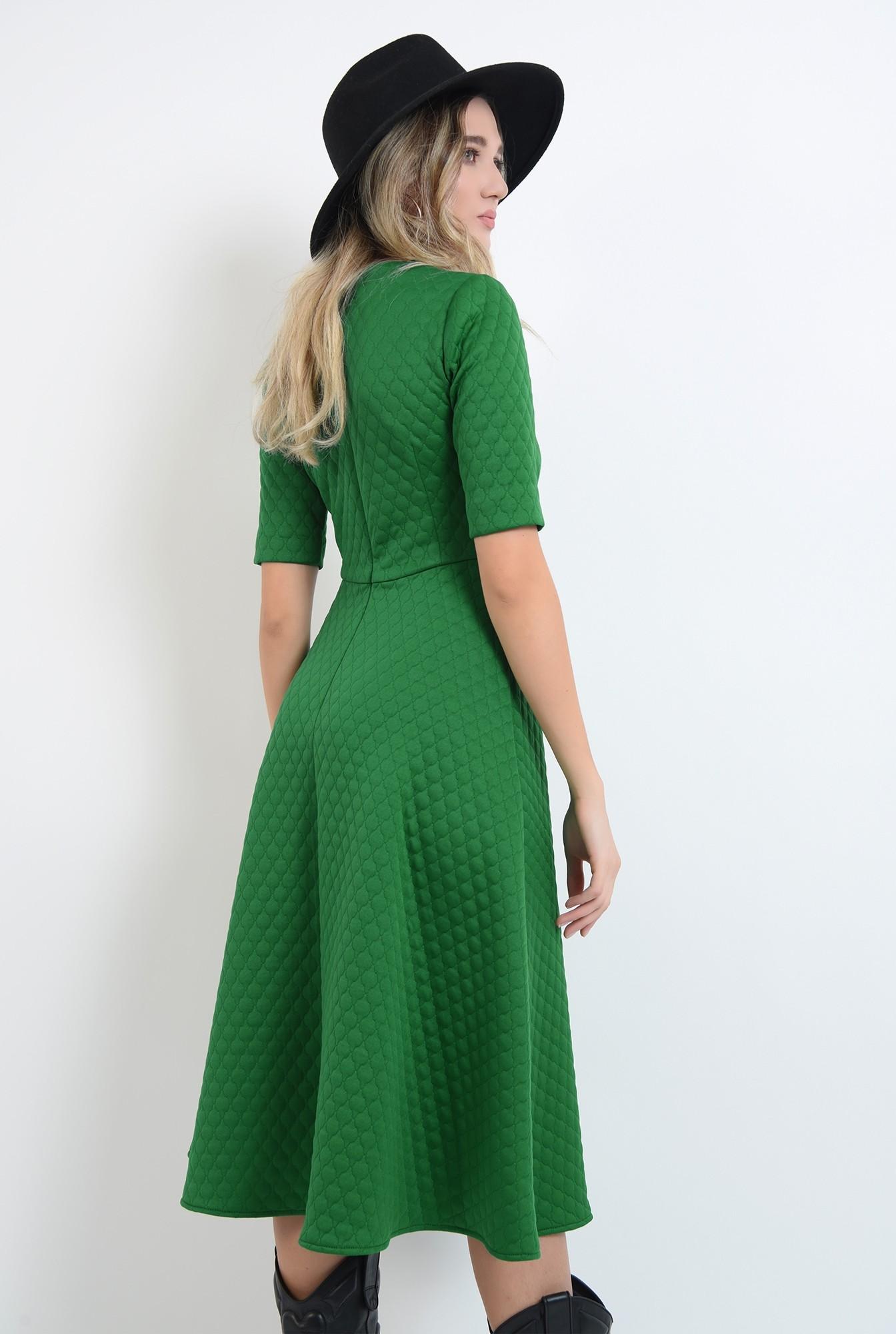 1 - rochie evazata, verde, midi, cu maneca scurta
