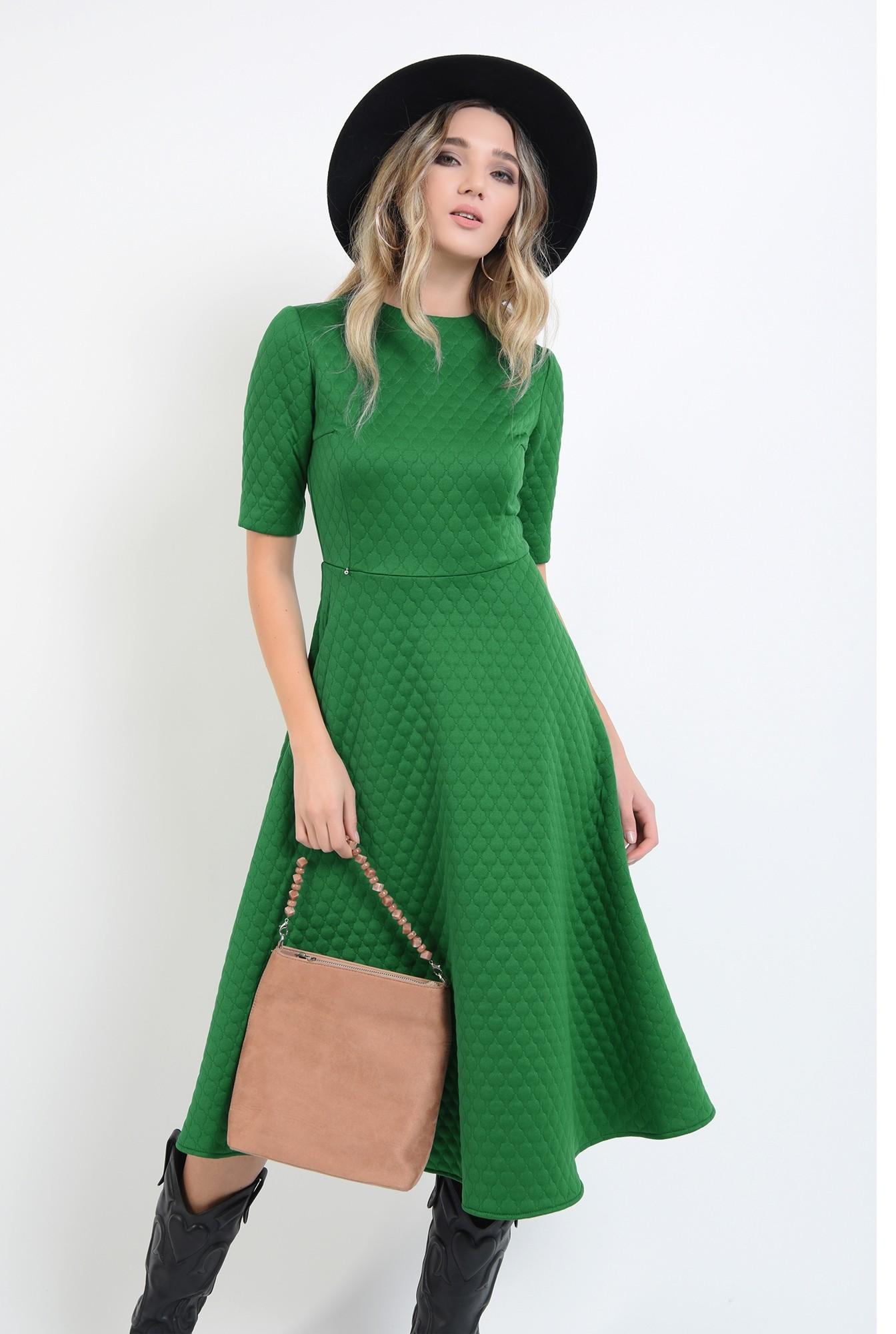 0 - rochie evazata, verde, midi, cu maneca scurta