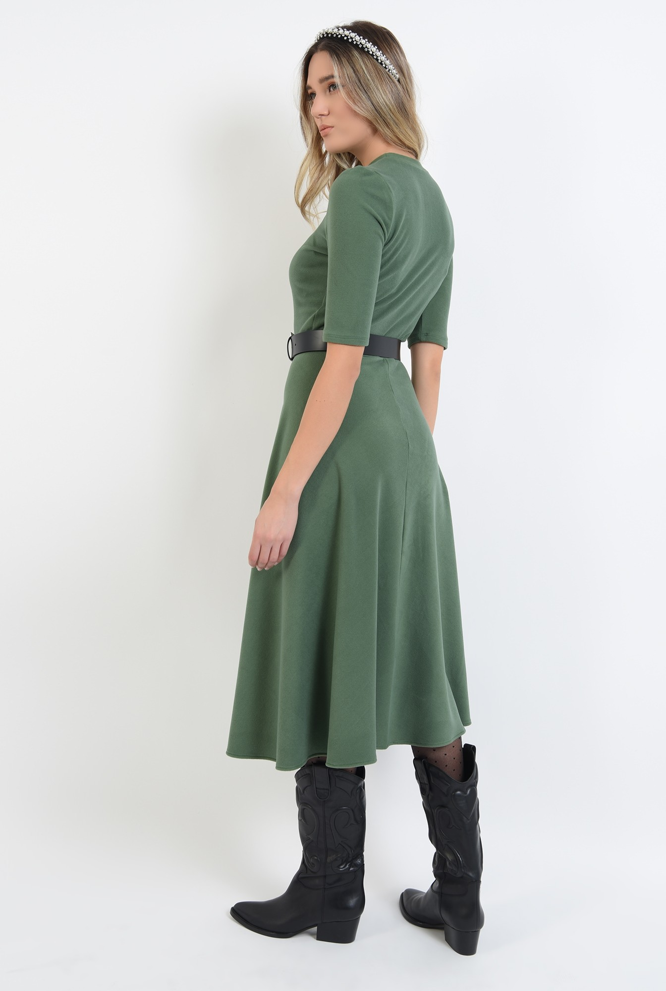 2 - 360 - rochie midi, verde, din jerseu, cu guler