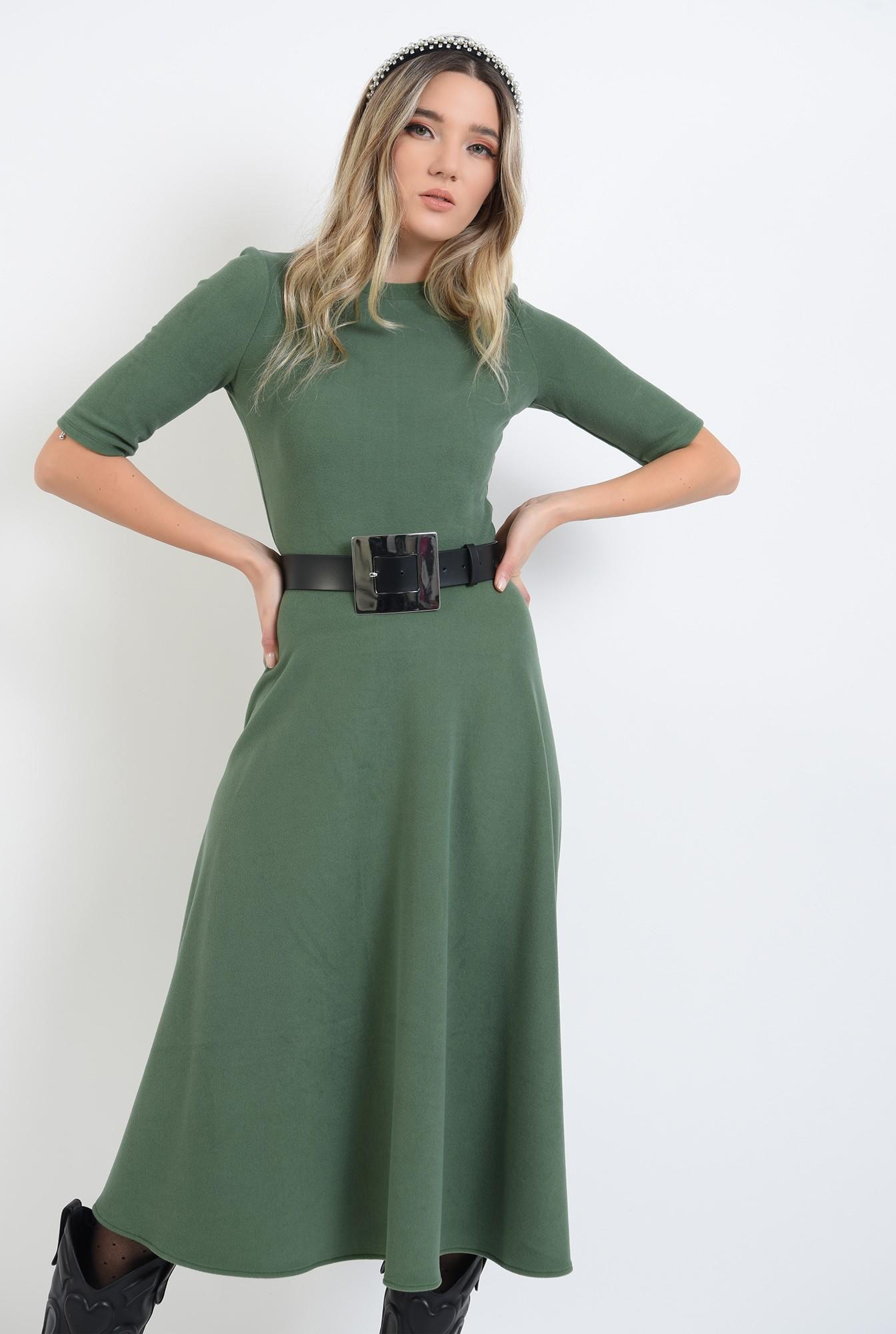 1 - 360 - rochie midi, verde, din jerseu, cu guler