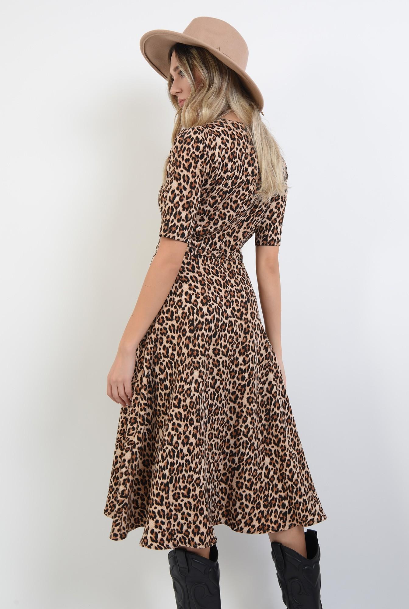 1 - rochie cu imprimeu, cu centura, cu maneca scurta