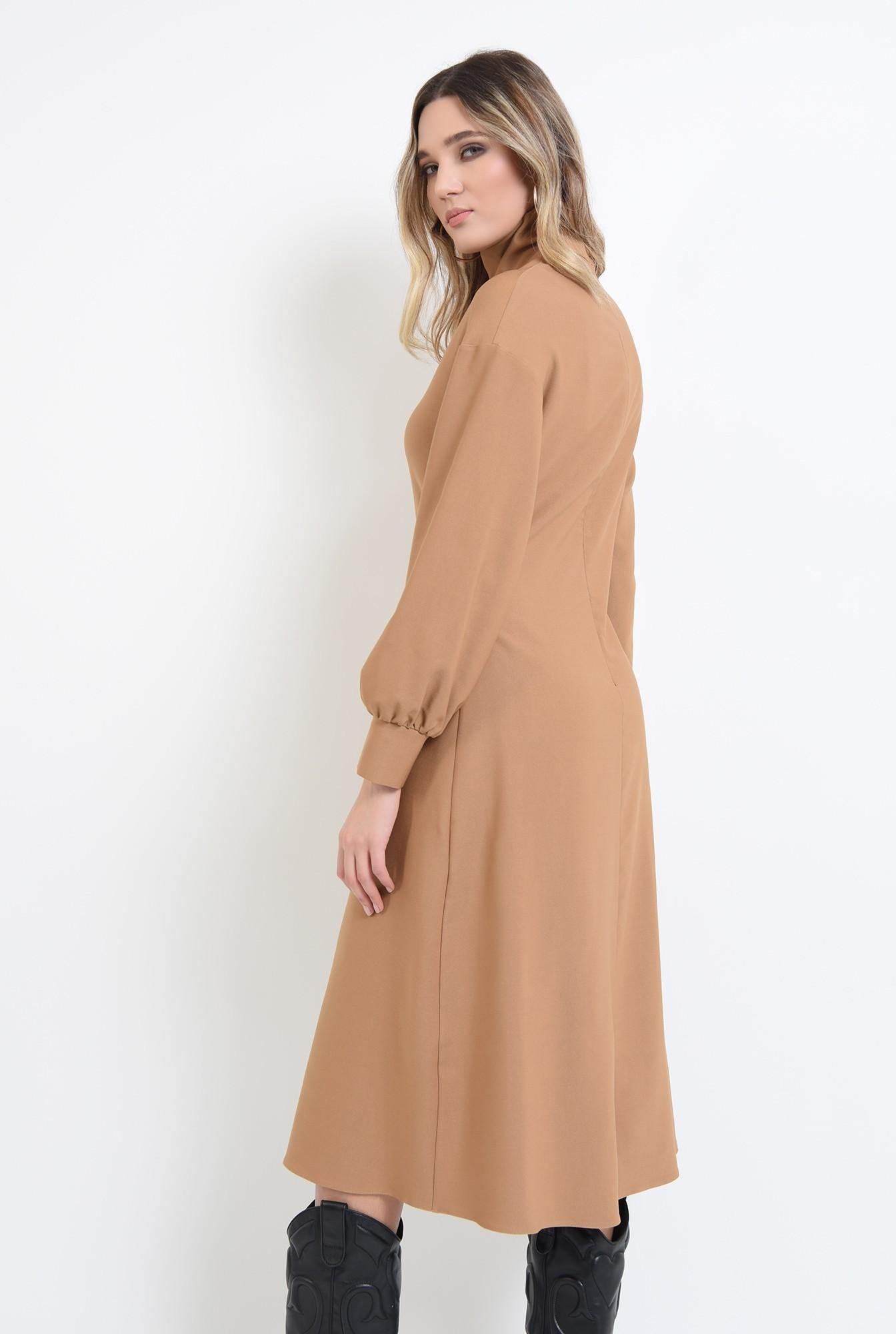 1 - rochie midi, camel, cu guler inalt