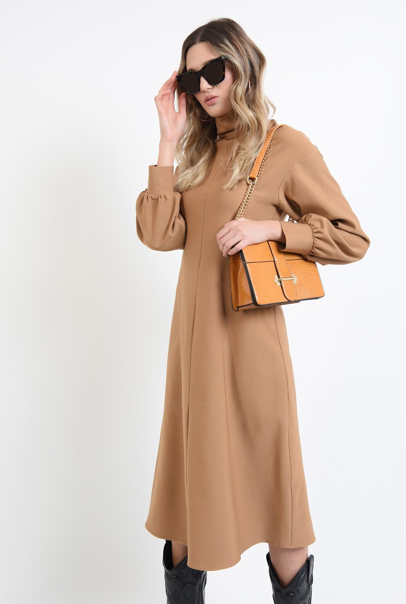 0 - rochie midi, camel, cu guler inalt