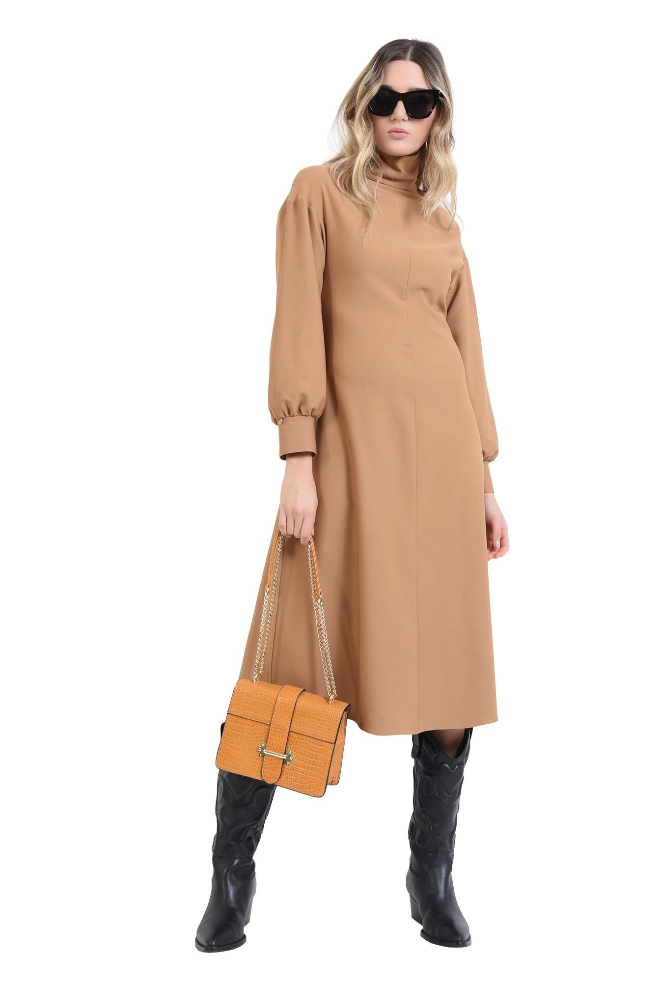 3 - rochie midi, camel, cu guler inalt