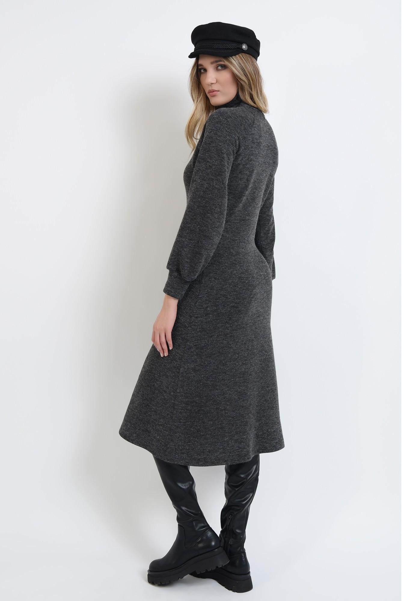 1 - 360 - rochie midi, gri, evazata, din tricot