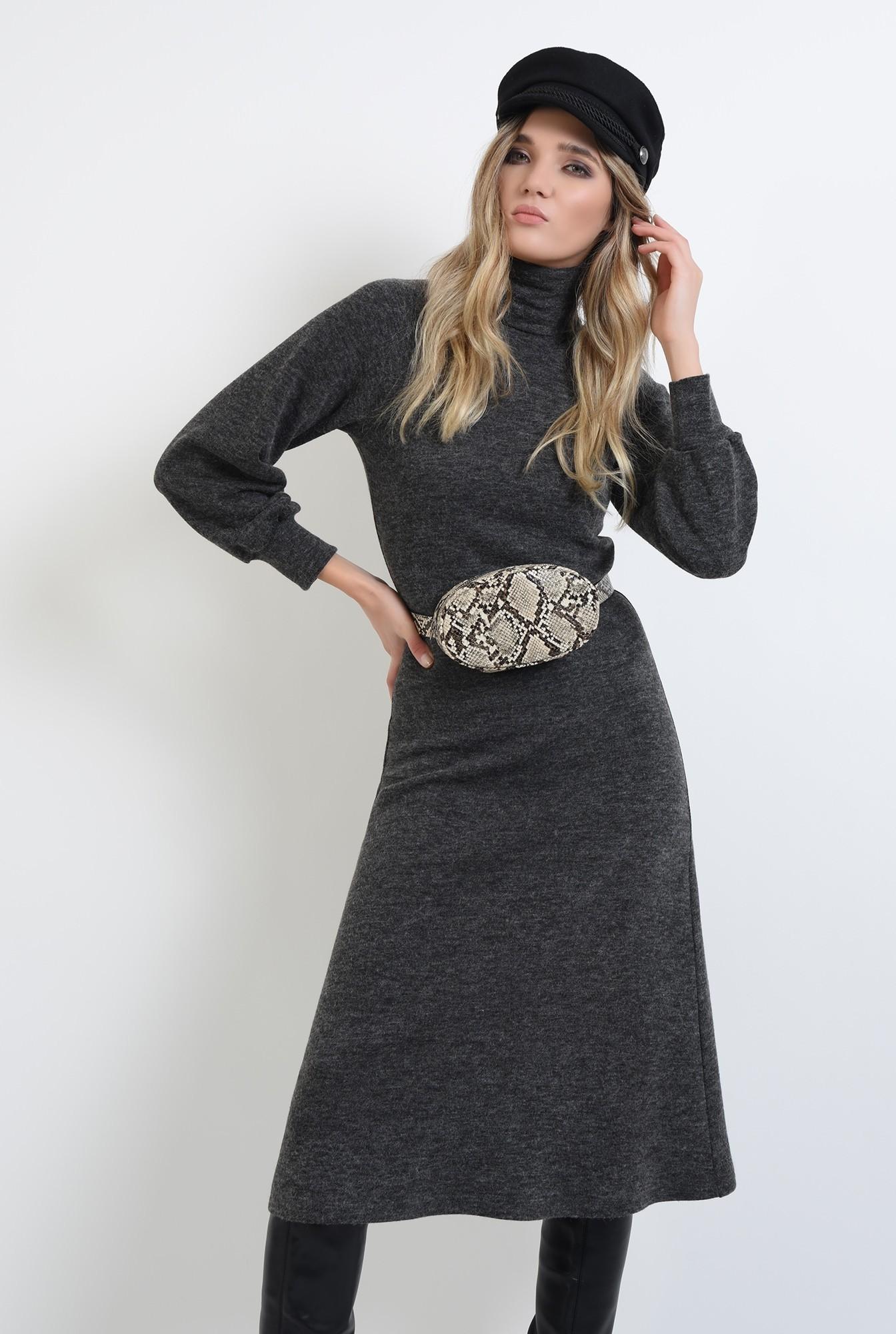 0 - 360 - rochie midi, gri, evazata, din tricot