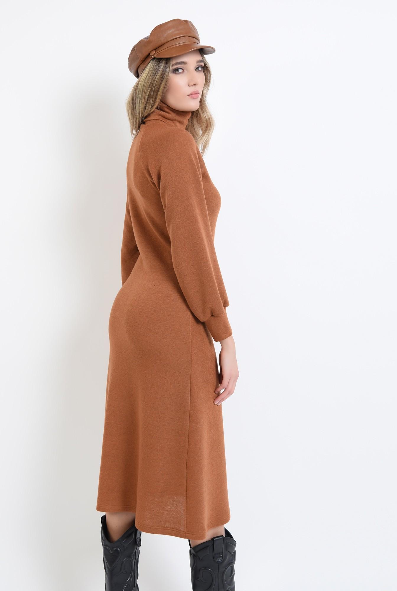 1 - 360 - rochie midi, evazata, din tricot, cu maneca bufanta