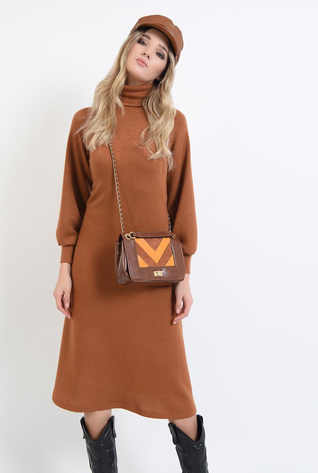 0 - 360 - rochie midi, evazata, din tricot, cu maneca bufanta