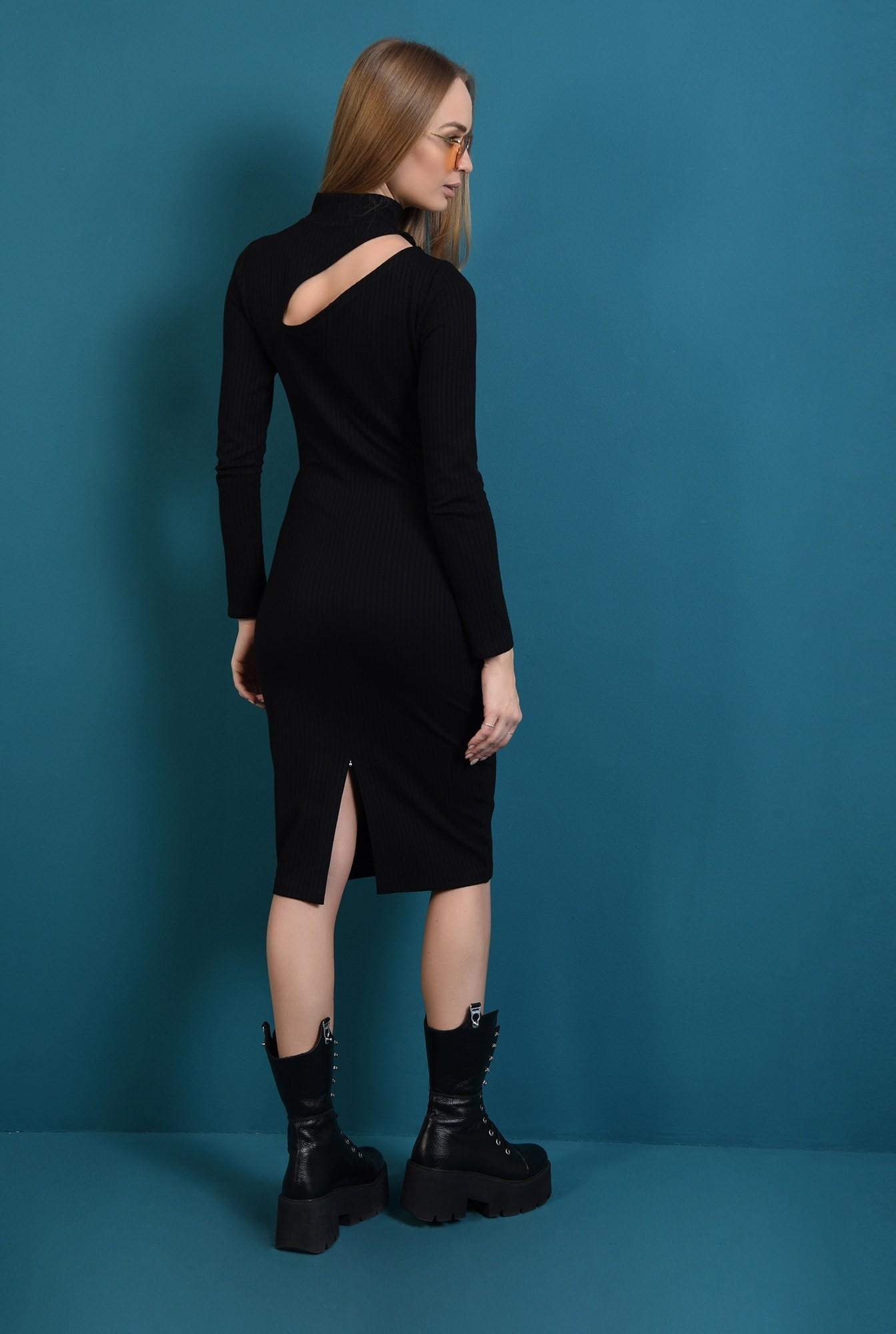 0 - rochie neagra, cu guler, cu decupaj, Poema