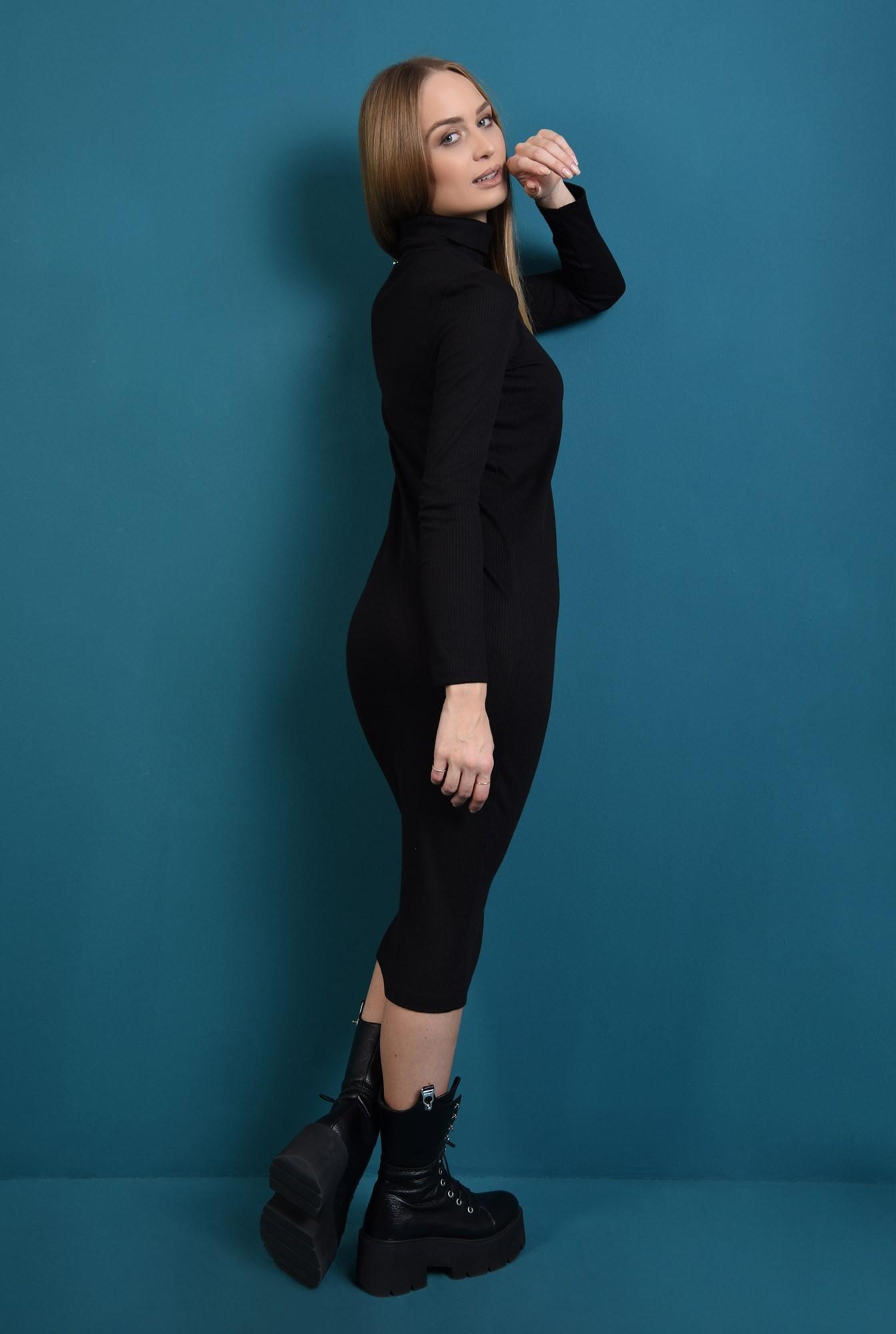 1 - rochie midi, neagra, tricotata, cu maneca lunga