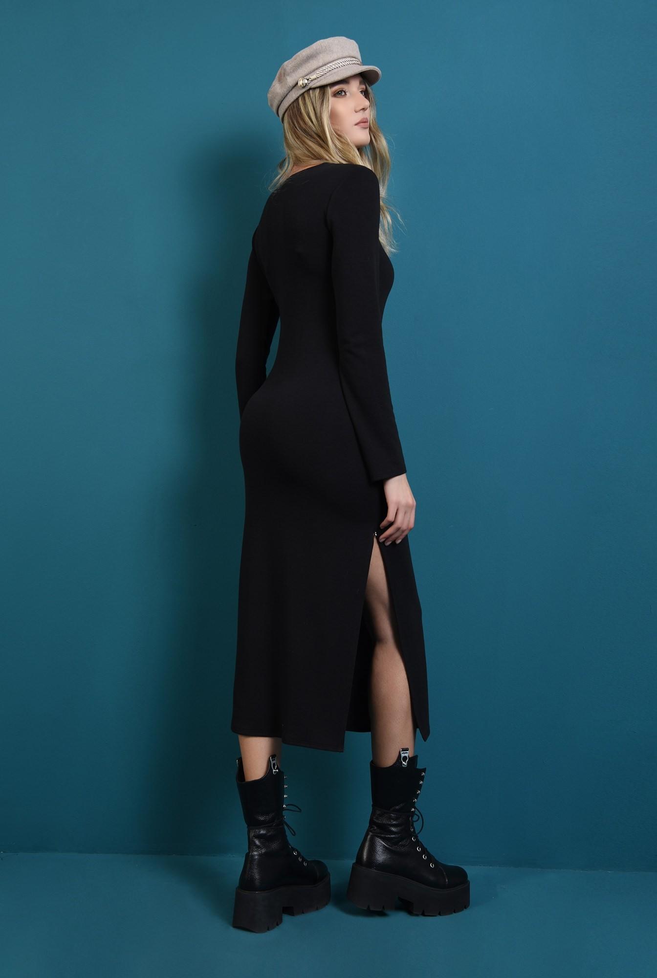 2 - rochie tricotata, cu maneca lunga, cu slit