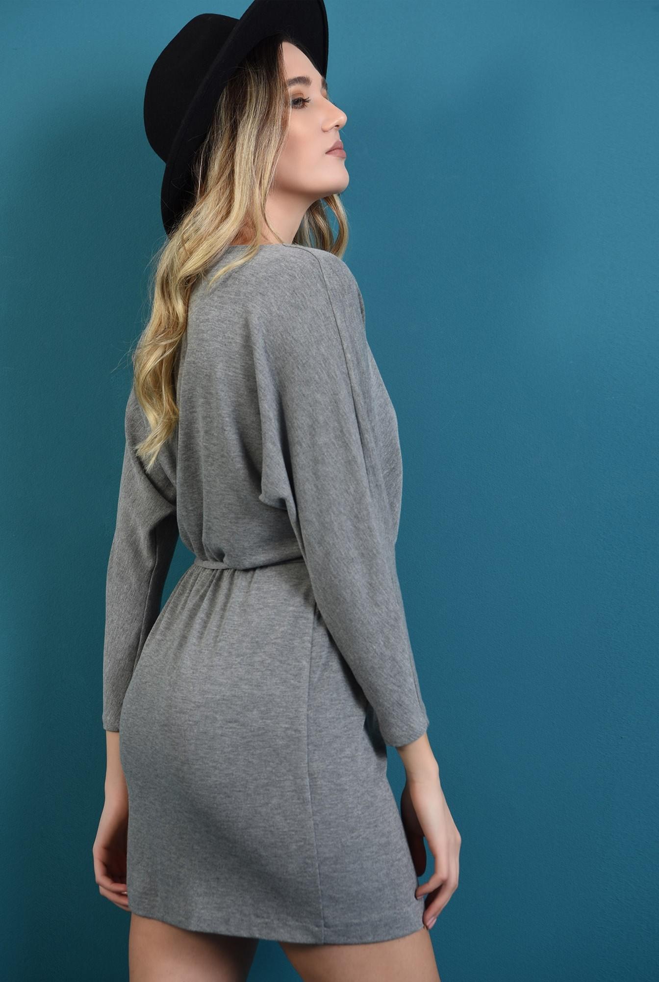 1 - 360 - rochie mini, tricotata, gri, Poema