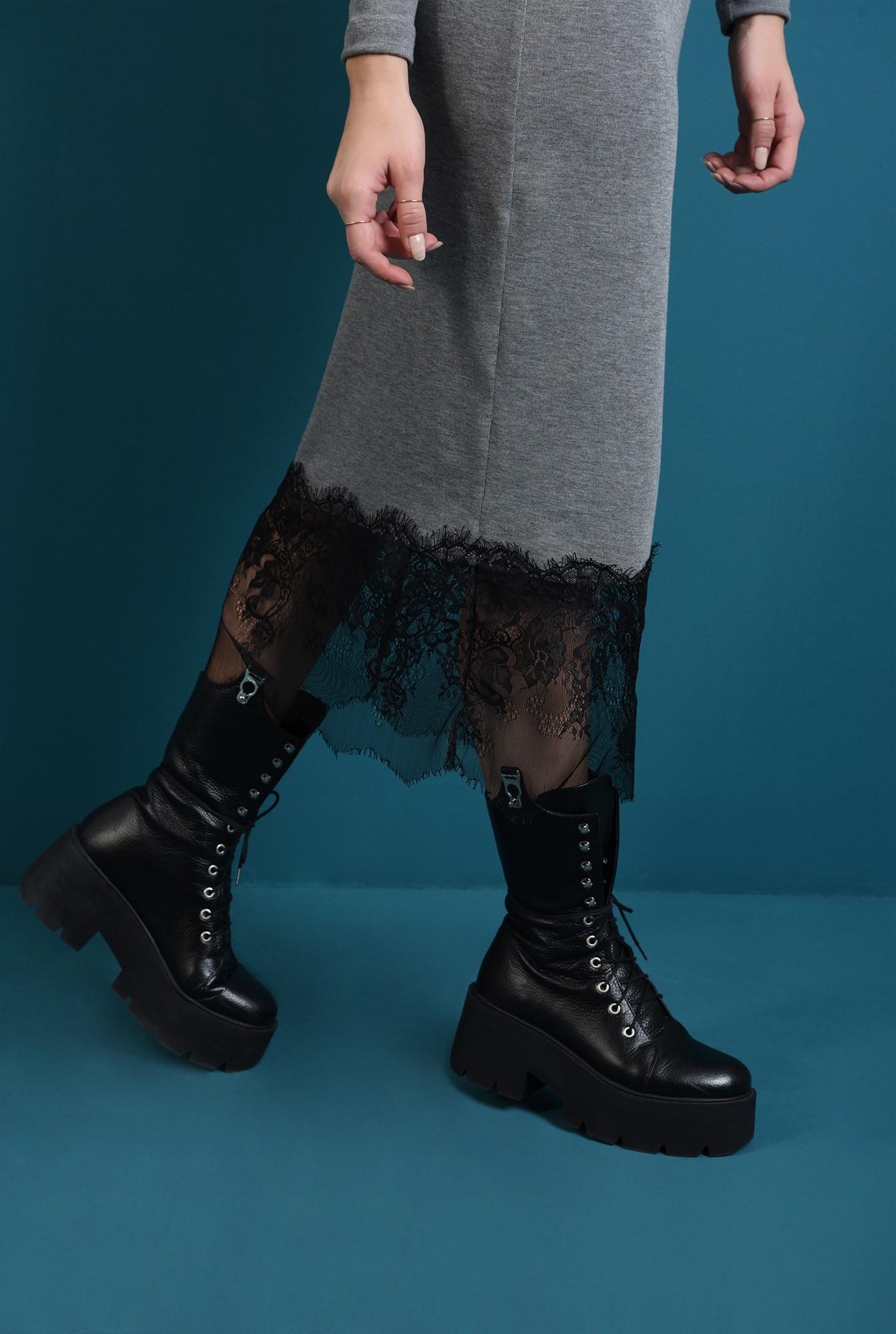 2 - rochie tricotata, gri, cu guler inalt, Poema
