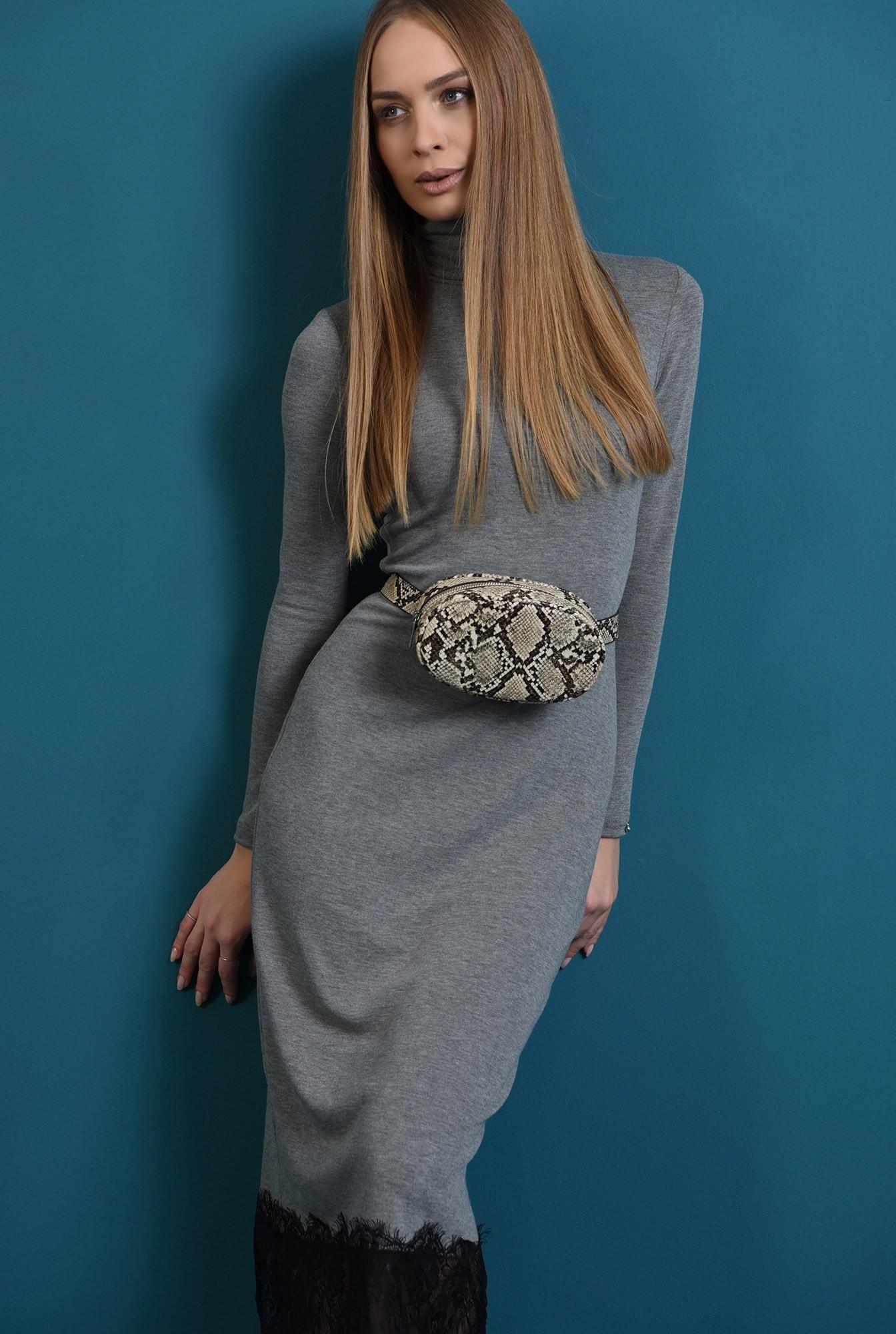 1 - rochie tricotata, gri, cu guler inalt, Poema