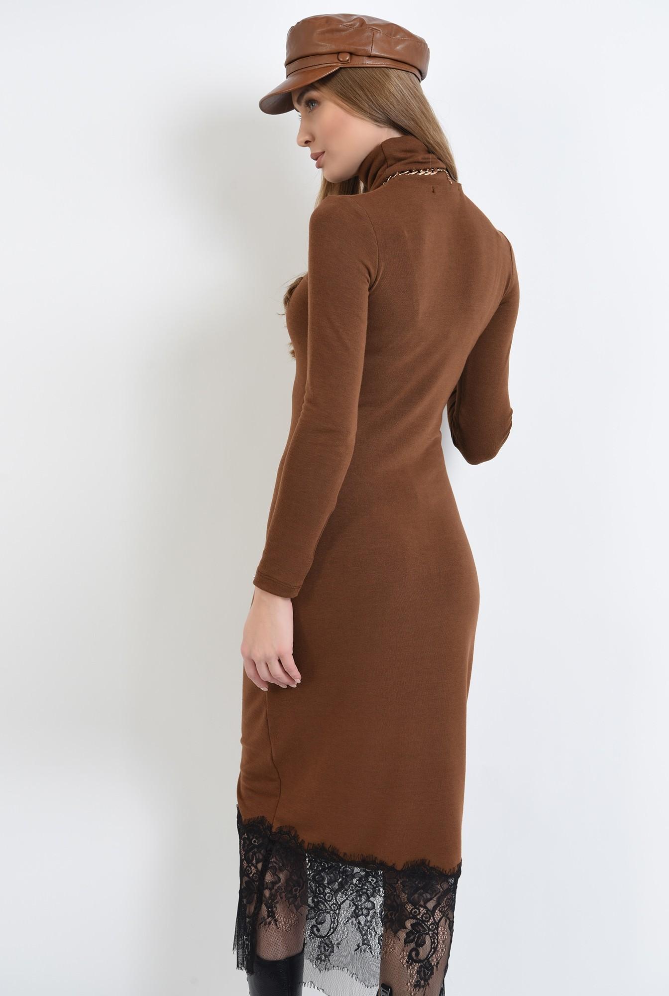 1 - rochie maro, tricotata, cu guler inalt, Poema