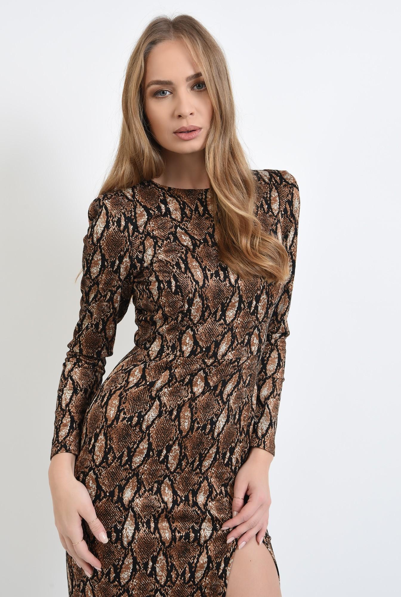 2 - rochie cu imprimeu, midi, cu umeri accentuati, cu slit
