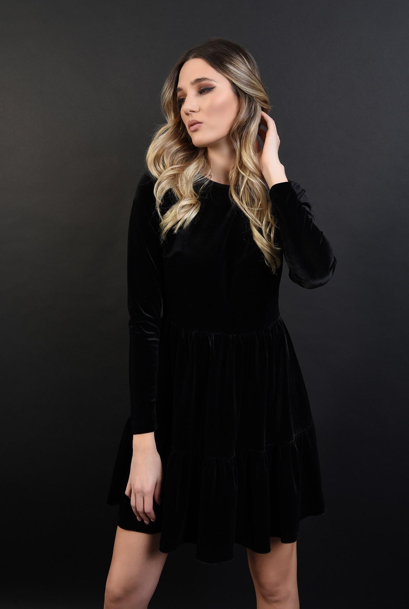 0 - 360 - rochie scurta, neagra, din catifea, cu volan