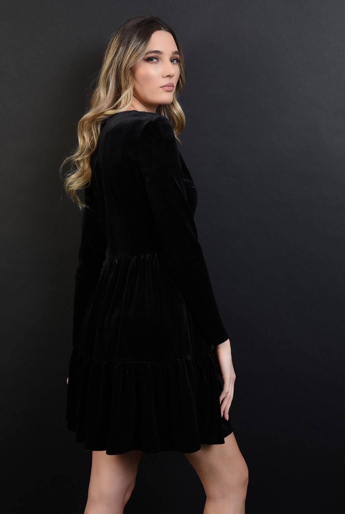 1 - 360 - rochie scurta, neagra, din catifea, cu volan