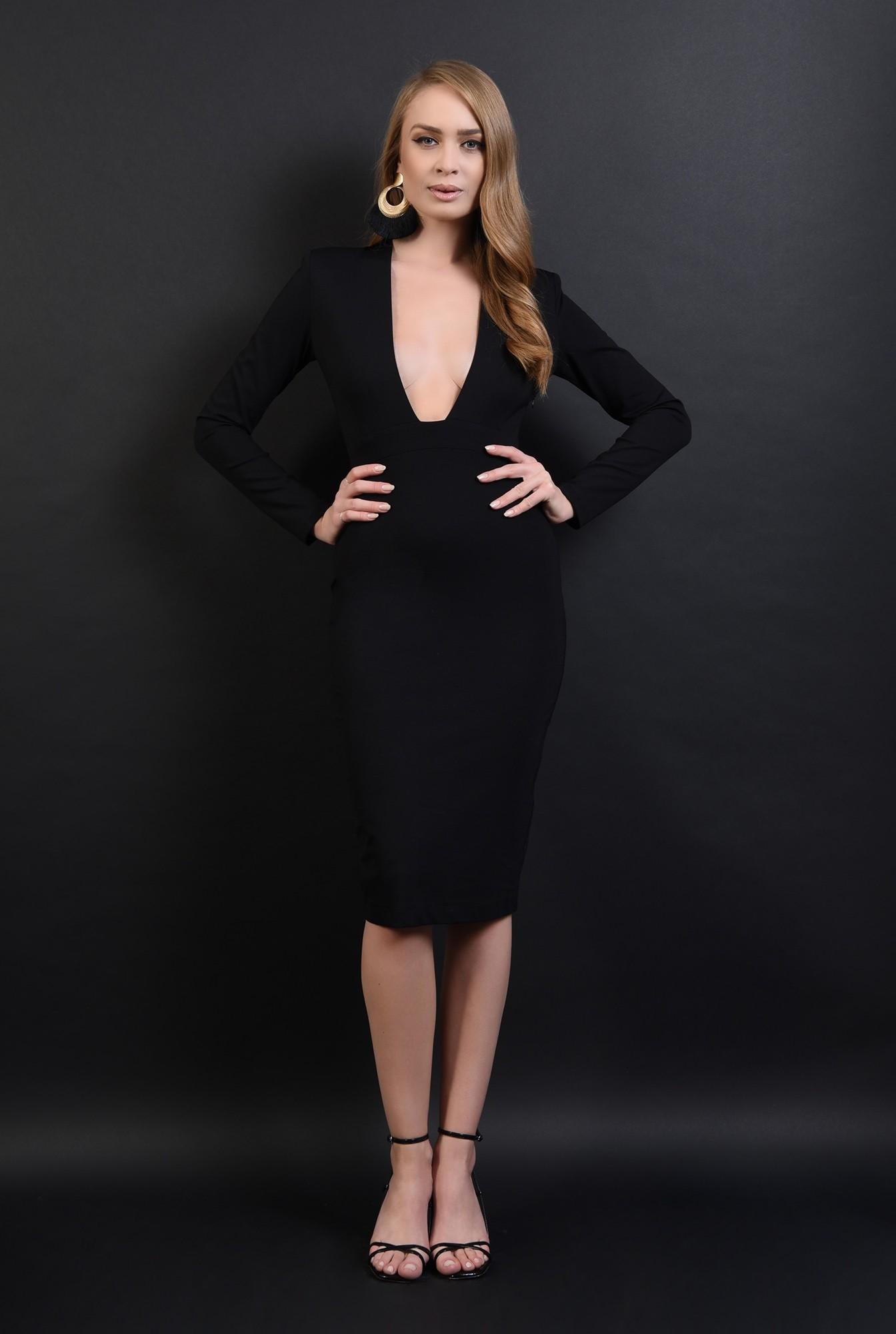 1 - 360 - rochie neagra, conica, cu anchior amplu