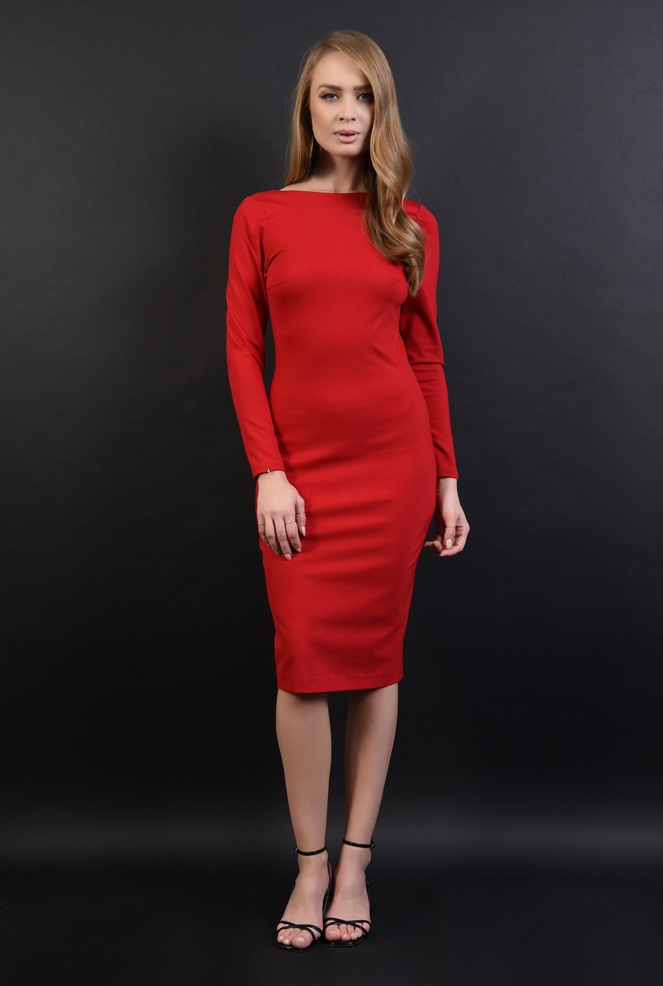 2 - 360 - rochie rosie, midi, cu decolteu la spate