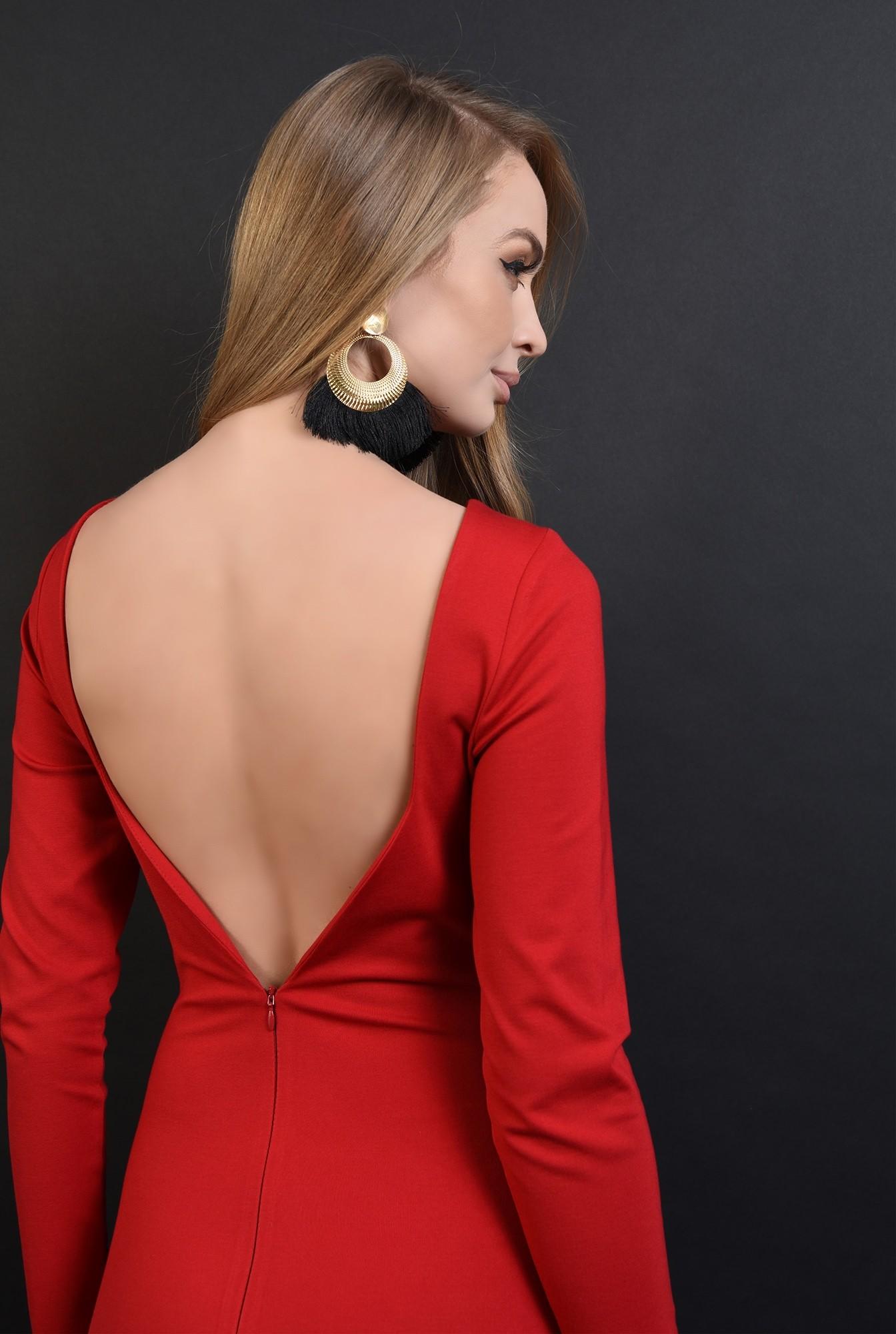 3 - 360 - rochie rosie, midi, cu decolteu la spate