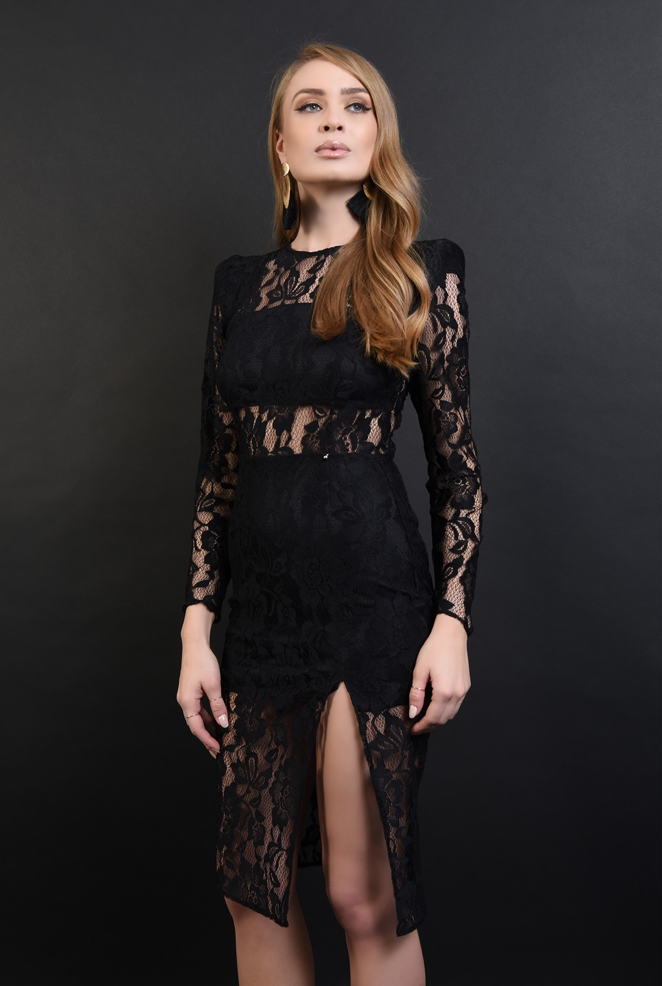0 - 360 - rochie neagra, eleganta, din dantela