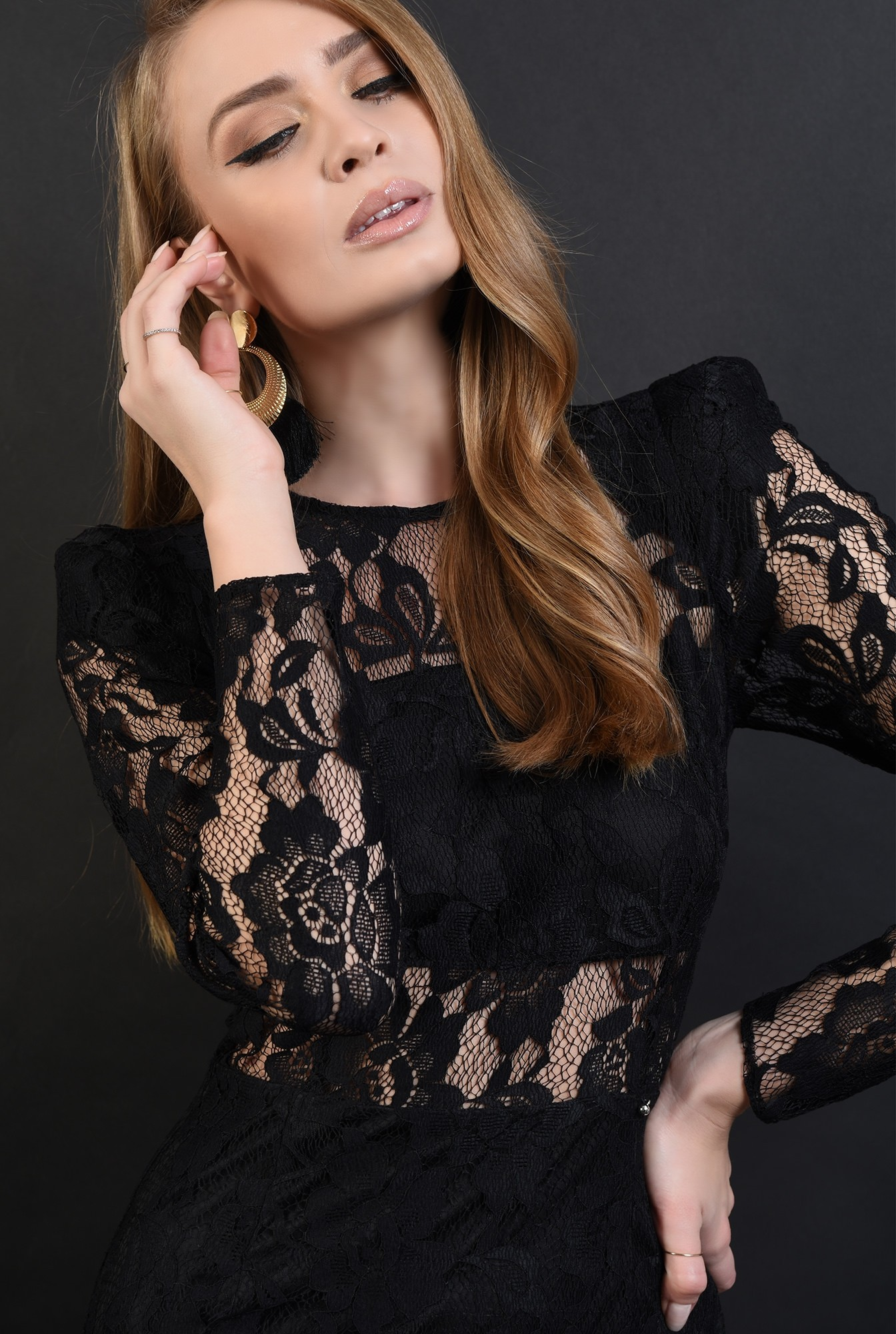 3 - 360 - rochie neagra, eleganta, din dantela