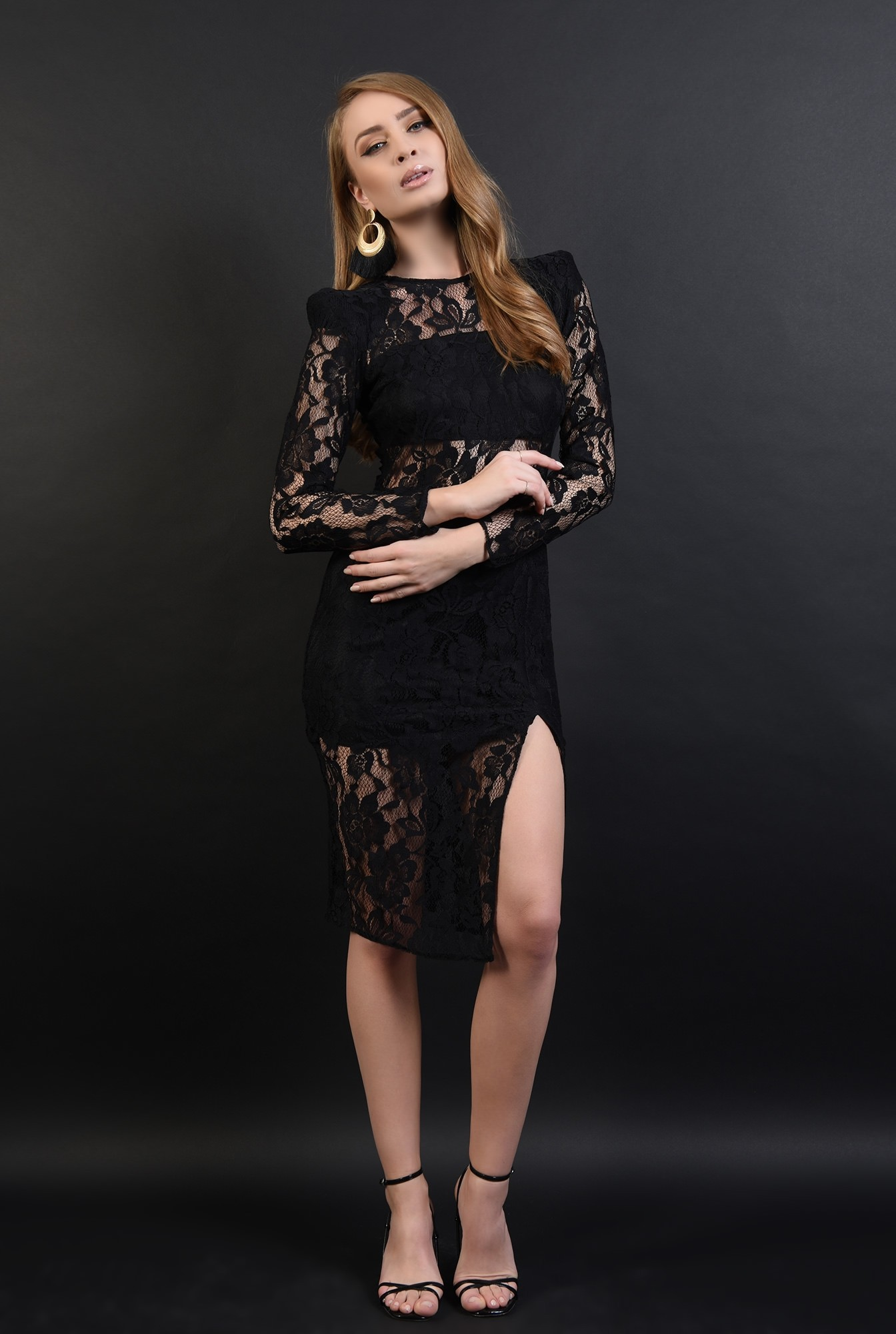 1 - 360 - rochie neagra, eleganta, din dantela