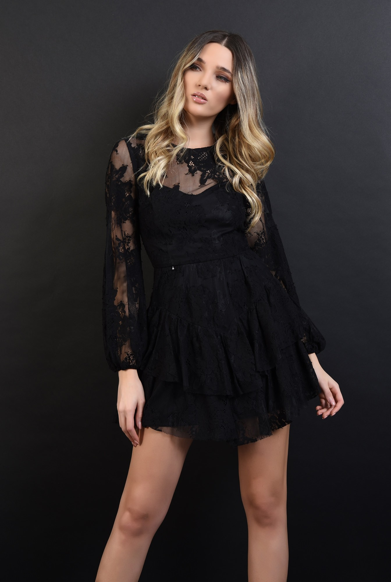 1 - 360 - rochie mini, neagra, din dantela, Poema