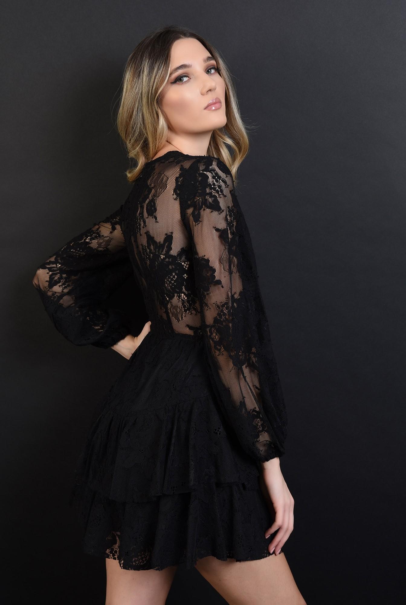 2 - 360 - rochie mini, neagra, din dantela, Poema