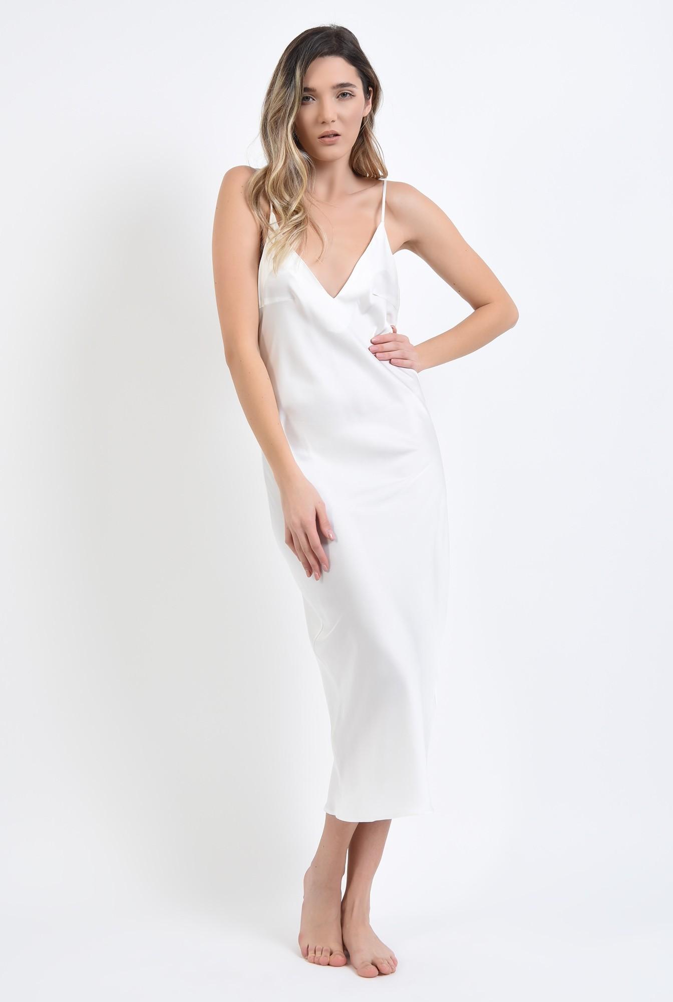 1 - rochie alba, din satin, cu bretele subtiri