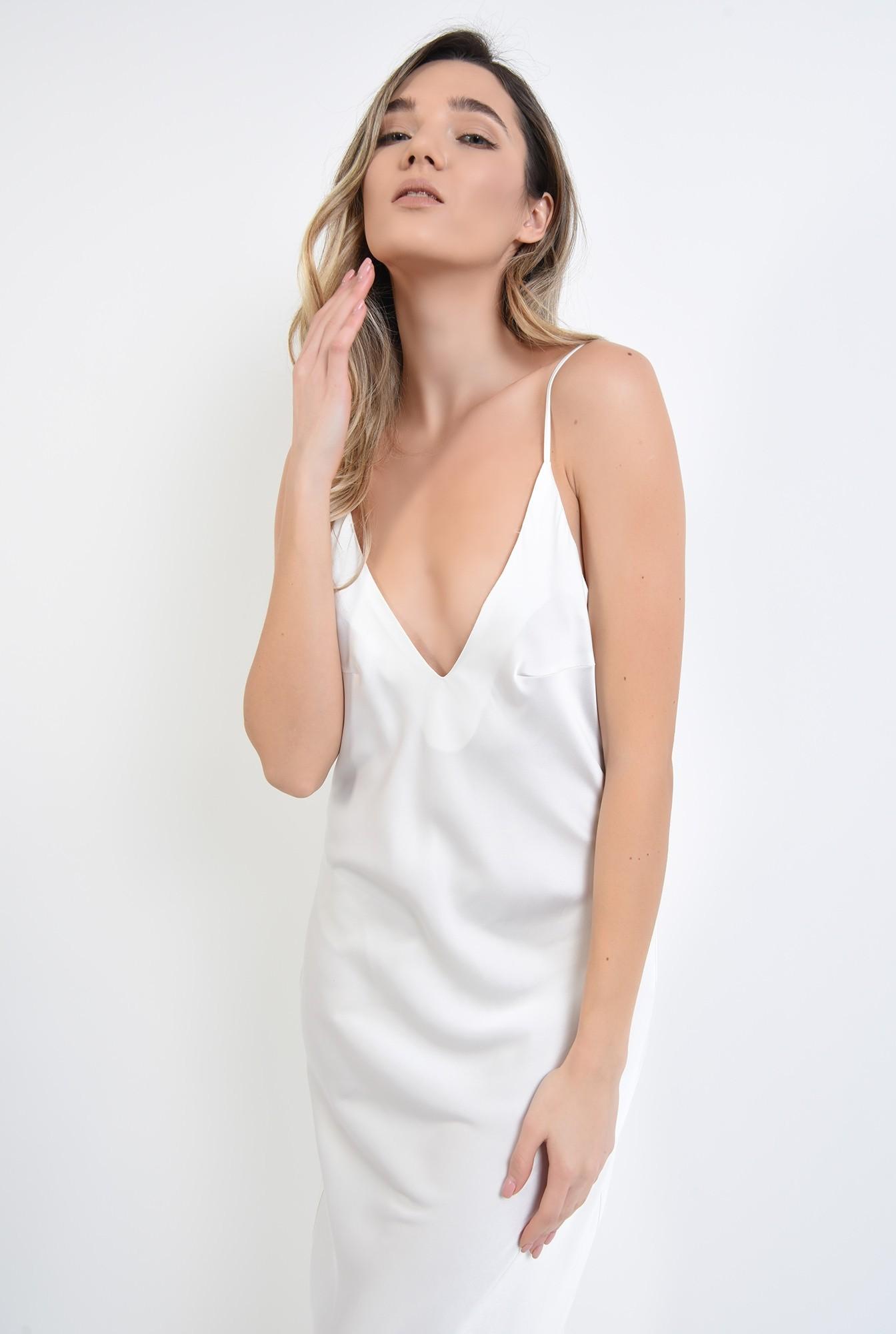 3 - rochie alba, din satin, cu bretele subtiri