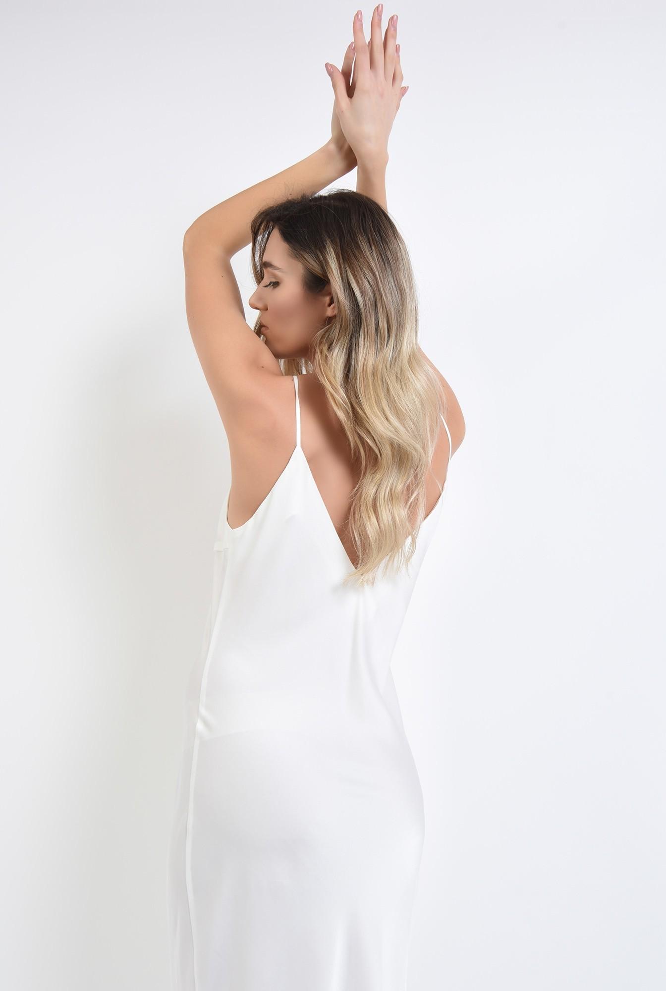 2 - rochie alba, din satin, cu bretele subtiri