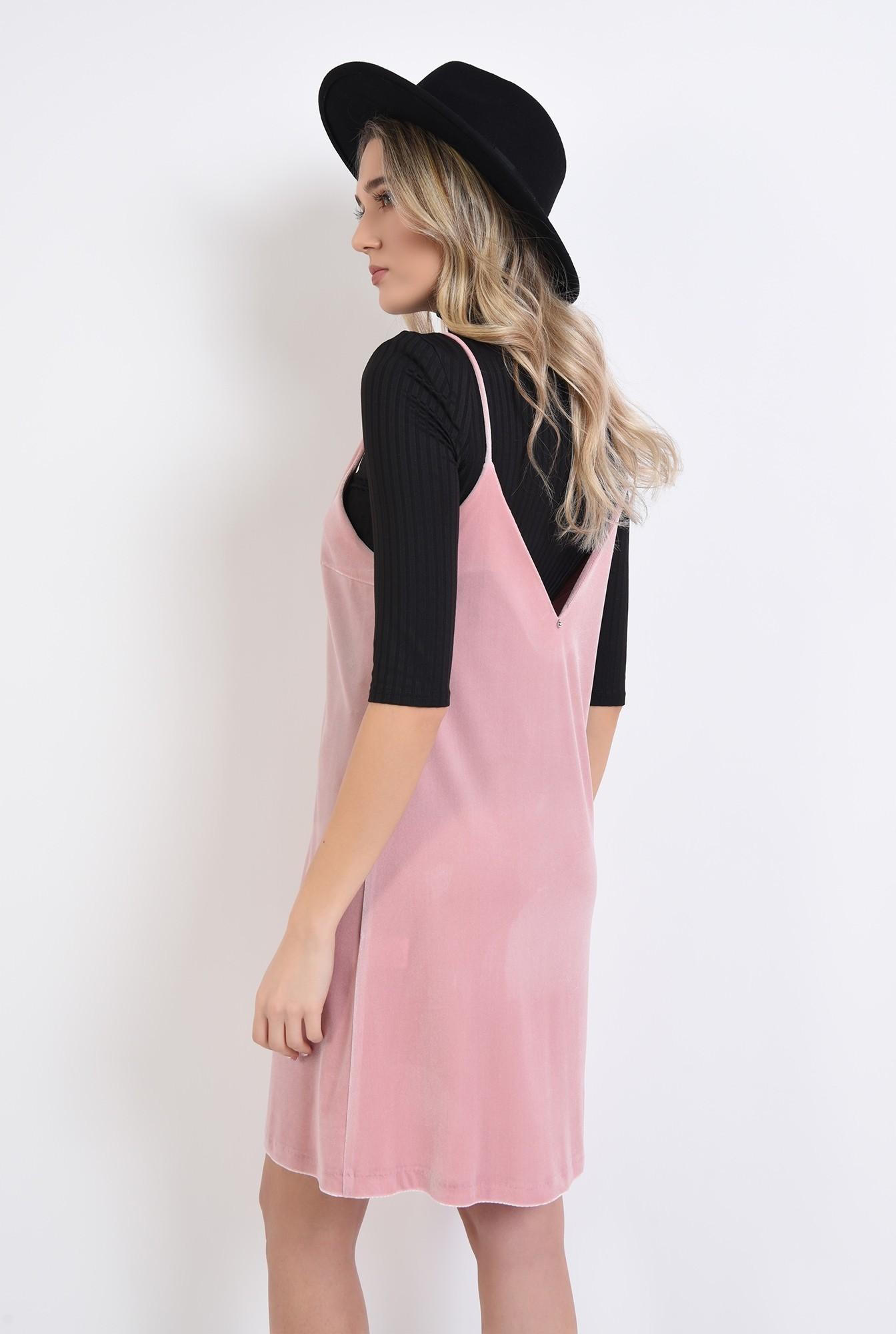 2 - rochie din catifea, roz, cu decolteu in V