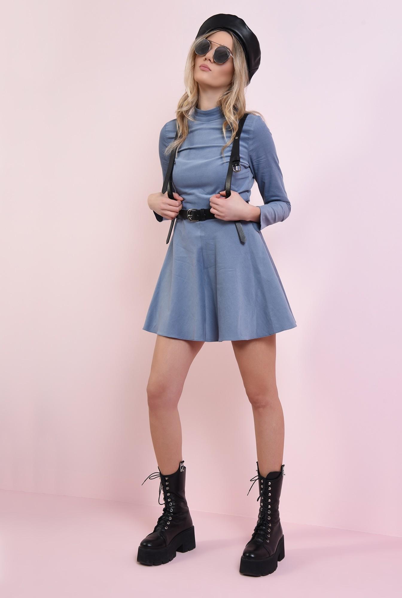 1 - rochie scurta, bleu, evazata
