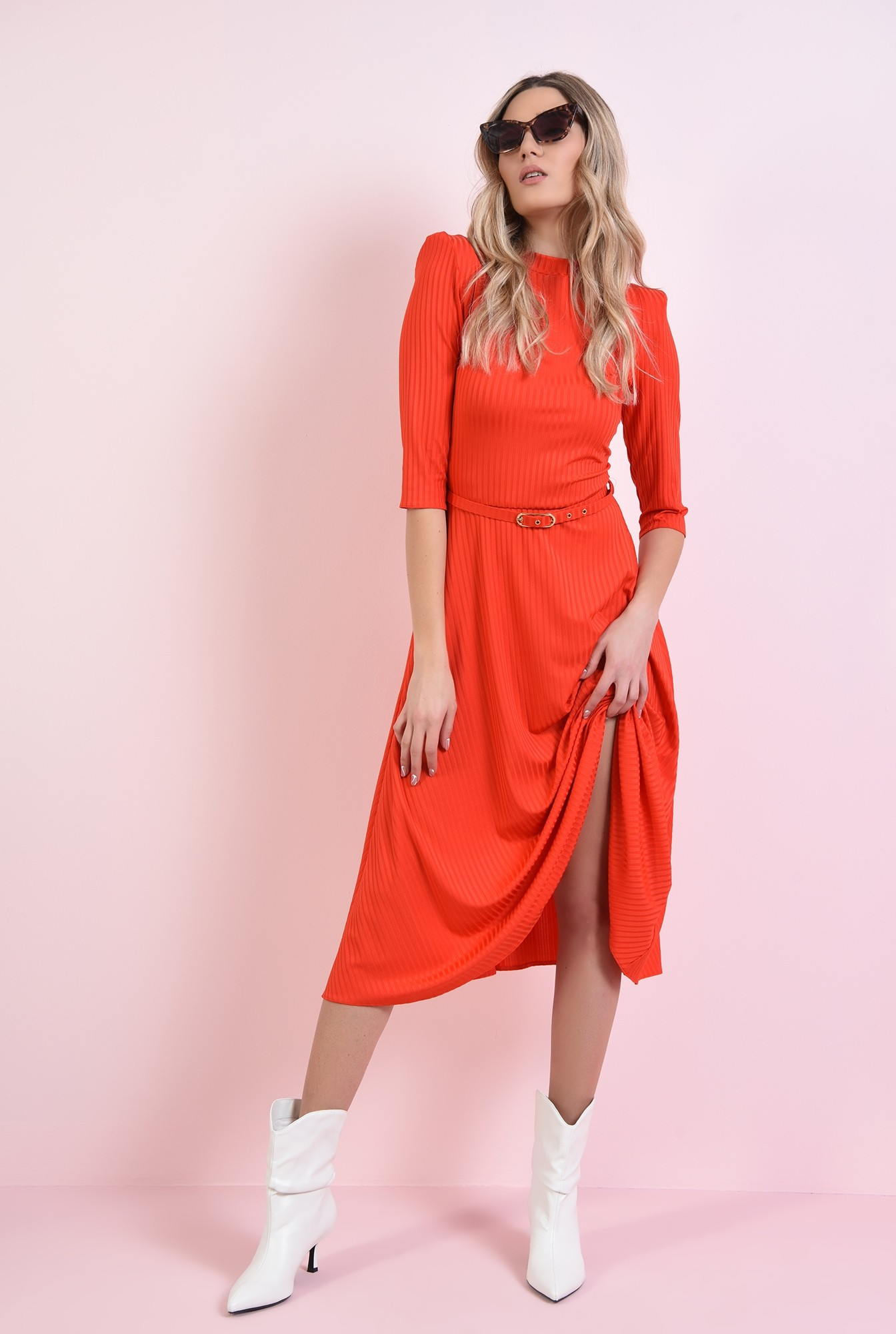0 - rochie rosie, evazata, cu centura