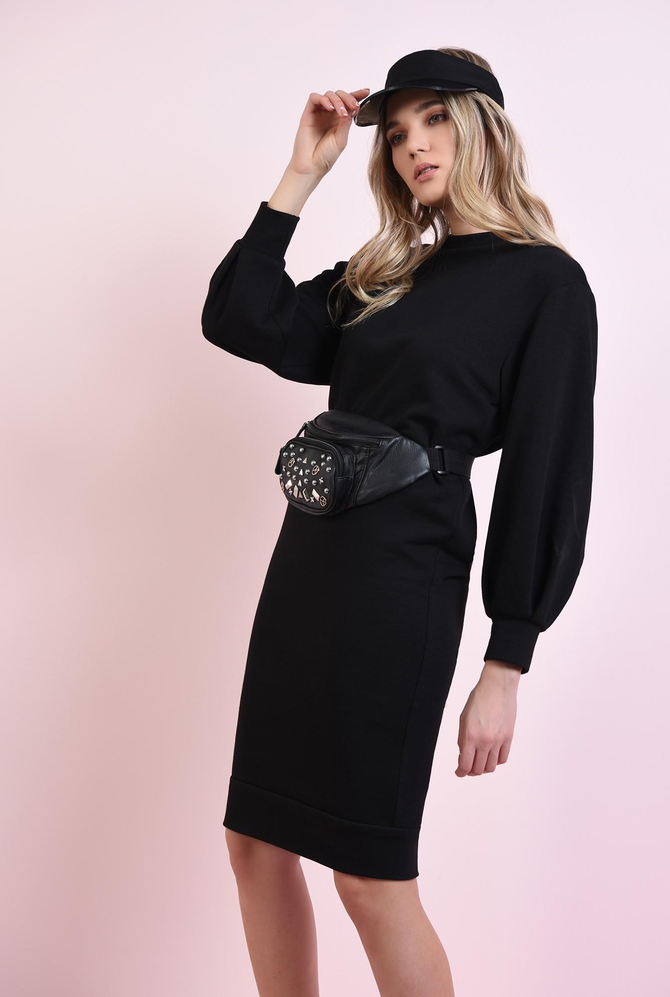 2 - rochie casual, neagra, cu maneca bufanta