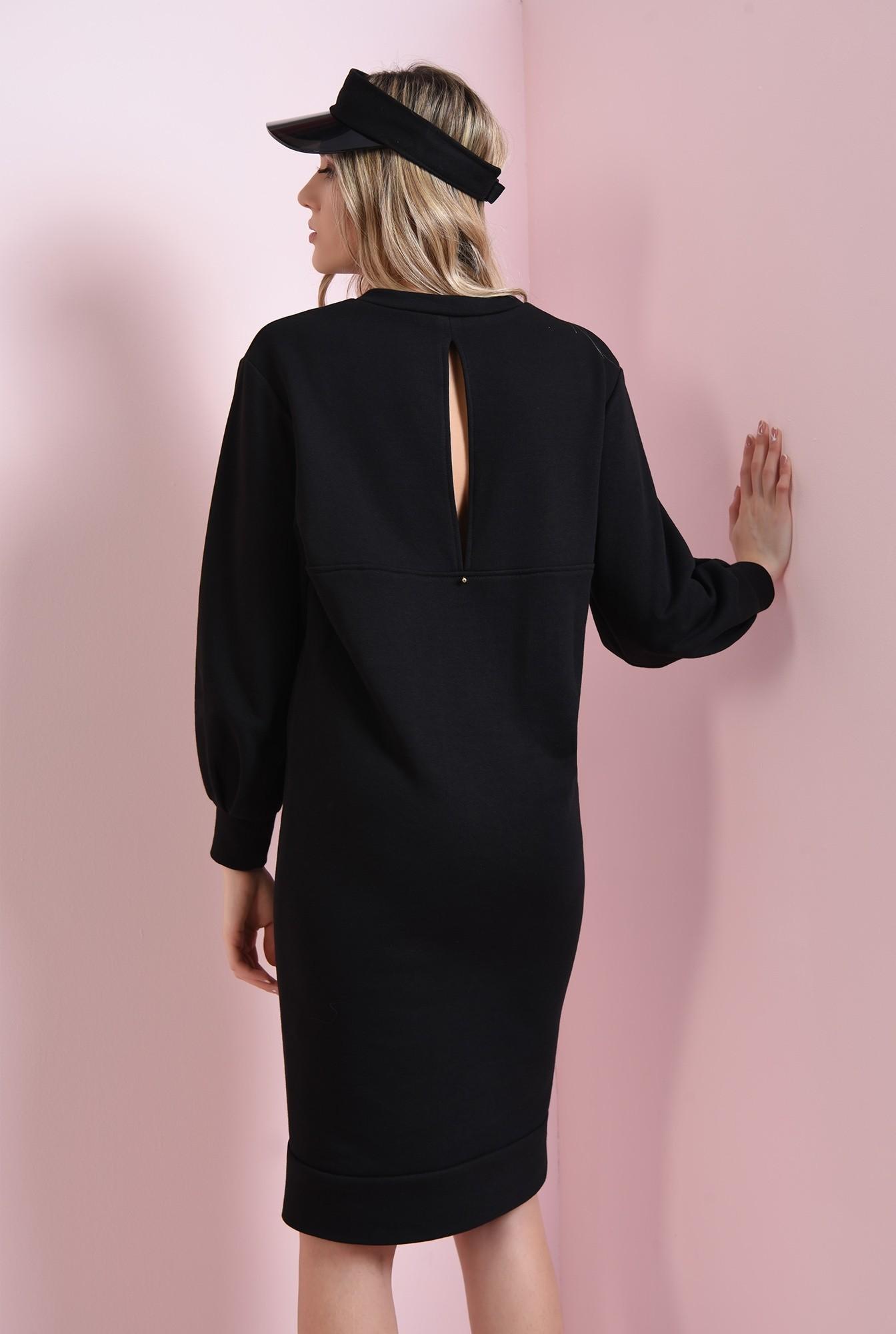 1 - rochie casual, neagra, cu maneca bufanta