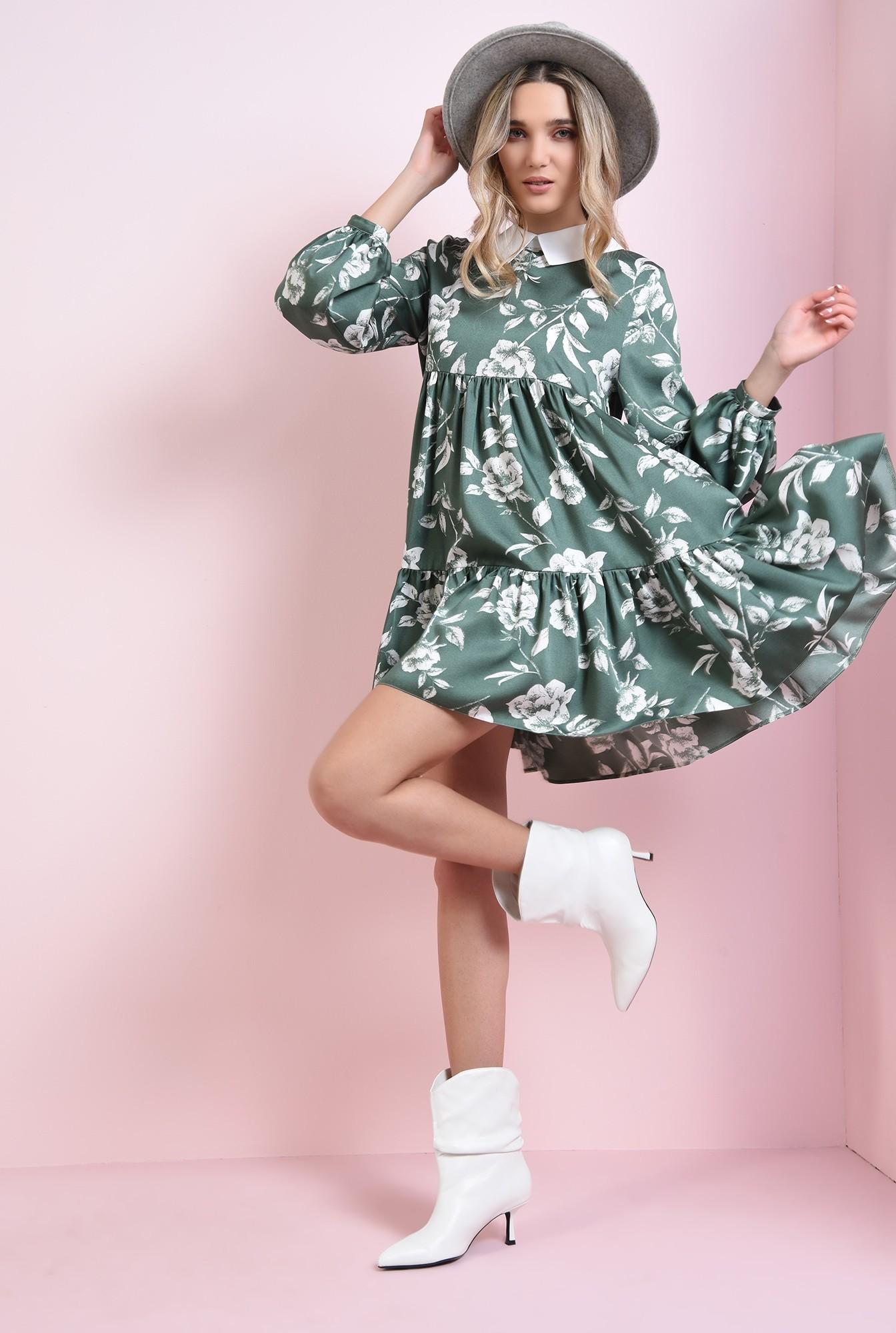 1 - rochie cu guler in contrast, cu volan
